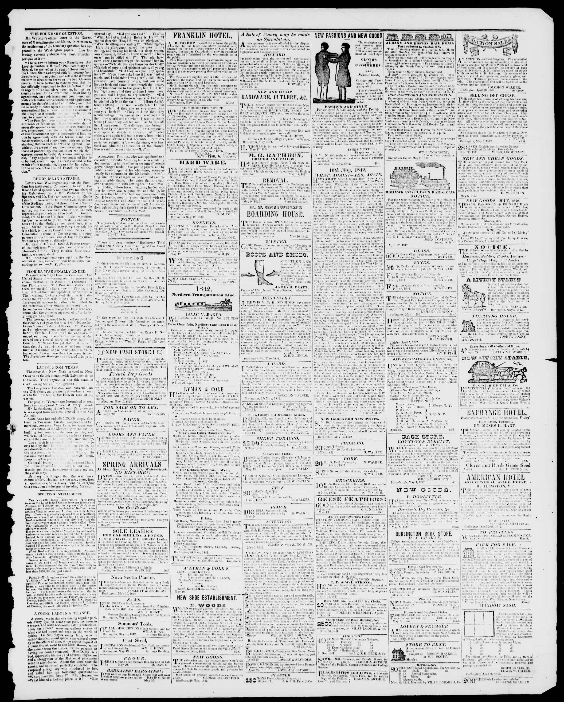 Newspaper of Burlington Free Press dated May 20, 1842 Page 3