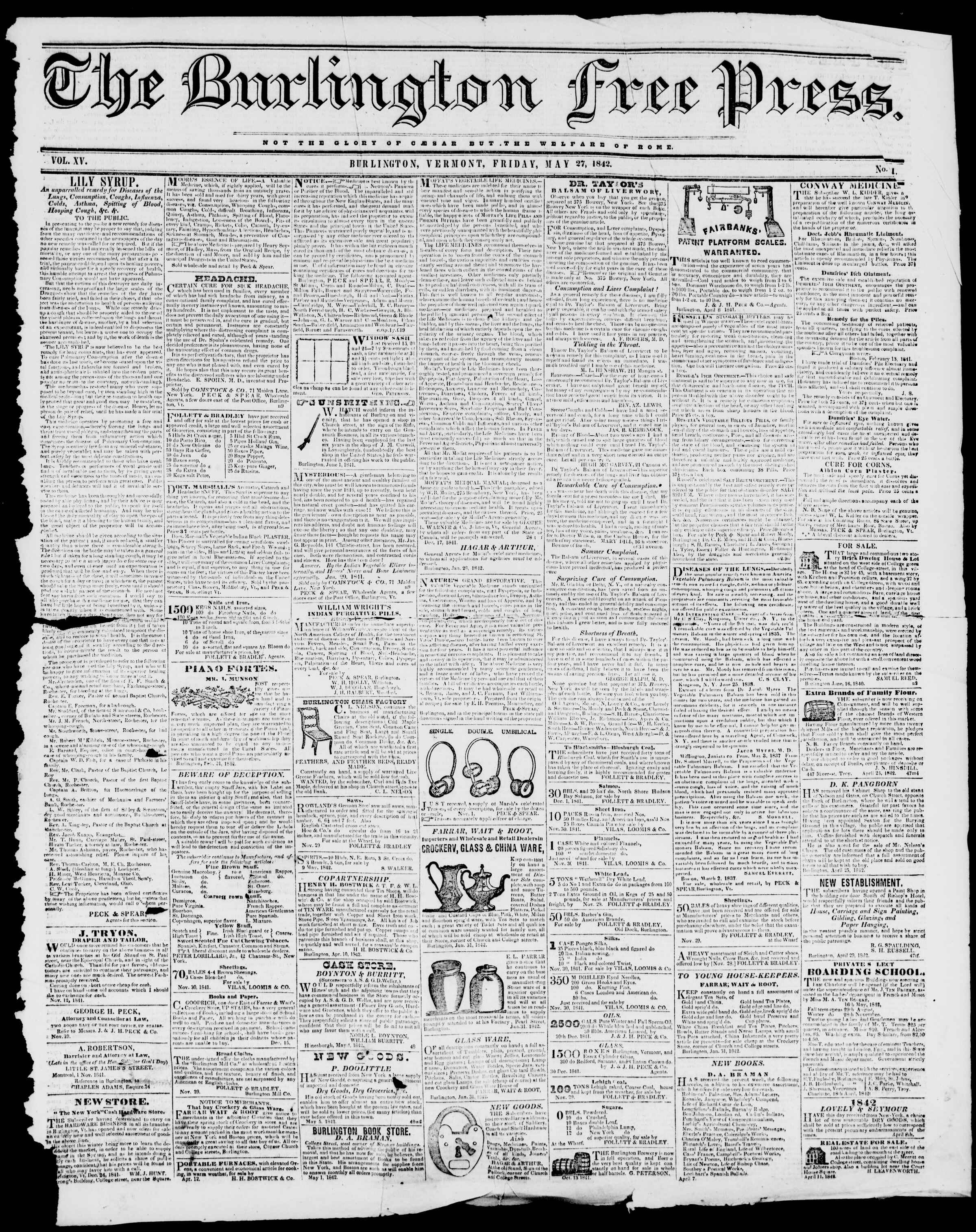 Newspaper of Burlington Free Press dated May 27, 1842 Page 1