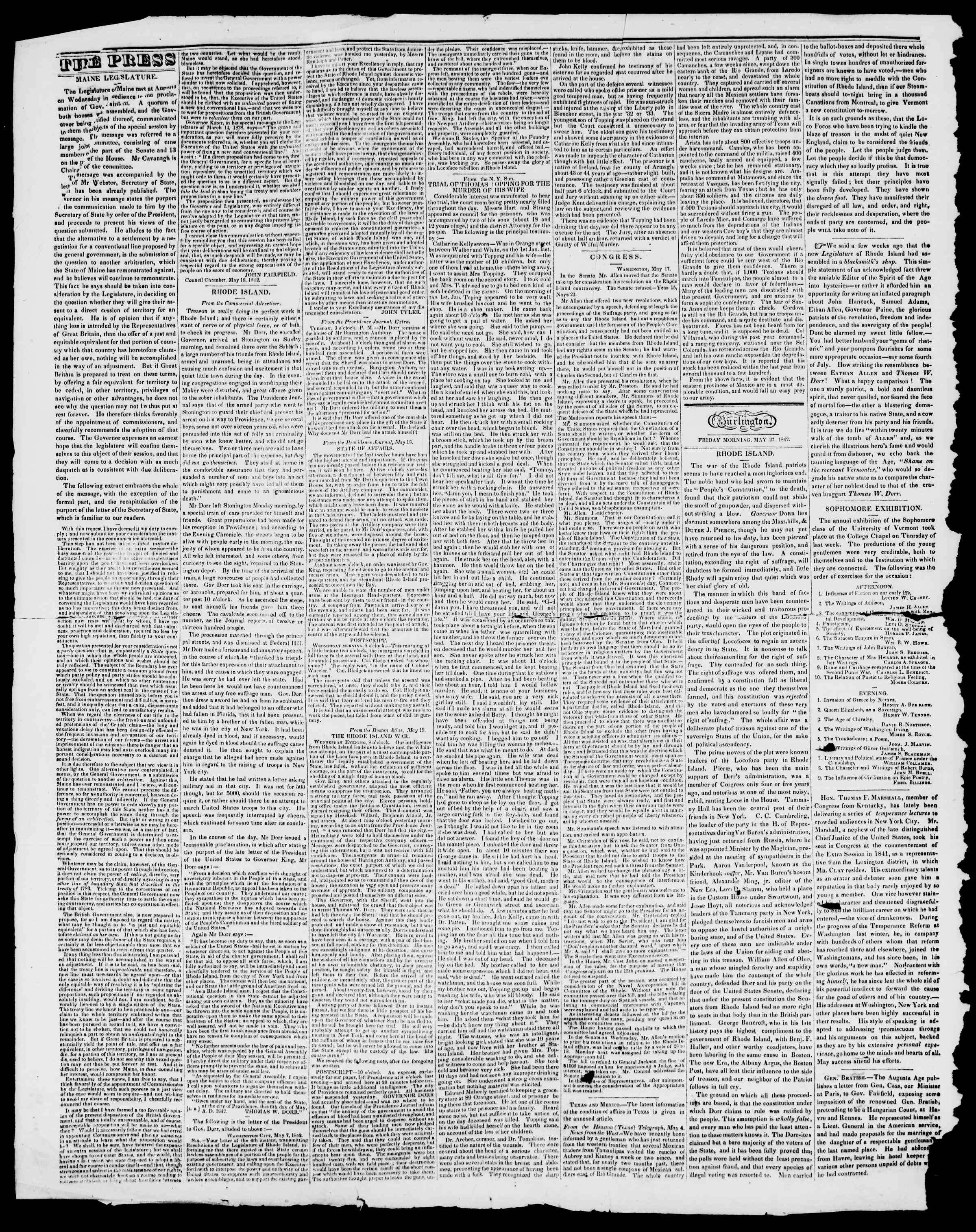 Newspaper of Burlington Free Press dated May 27, 1842 Page 2
