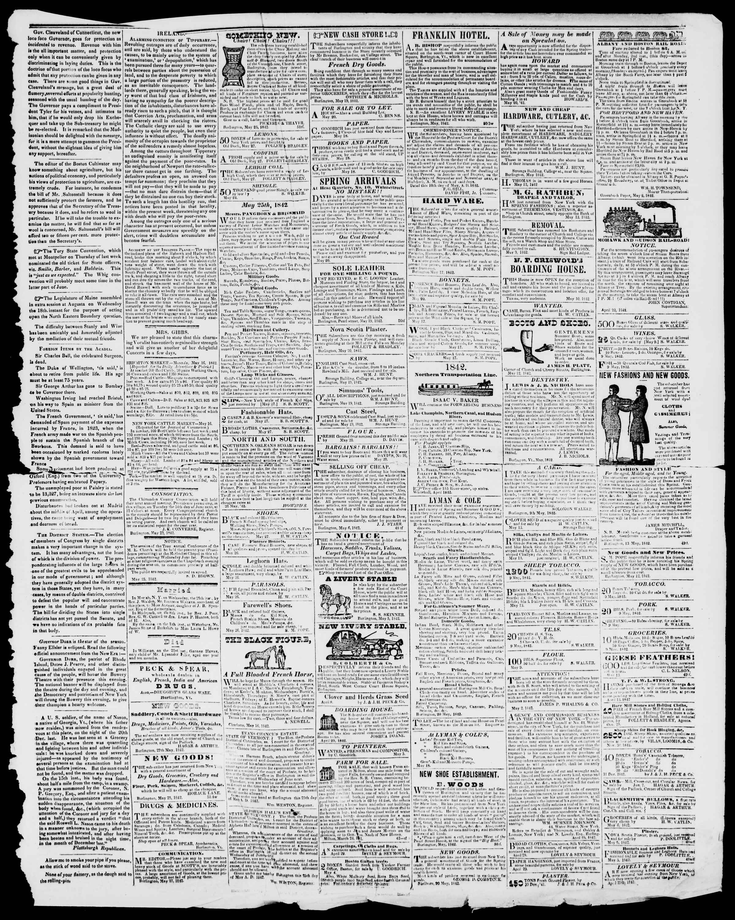 Newspaper of Burlington Free Press dated May 27, 1842 Page 3