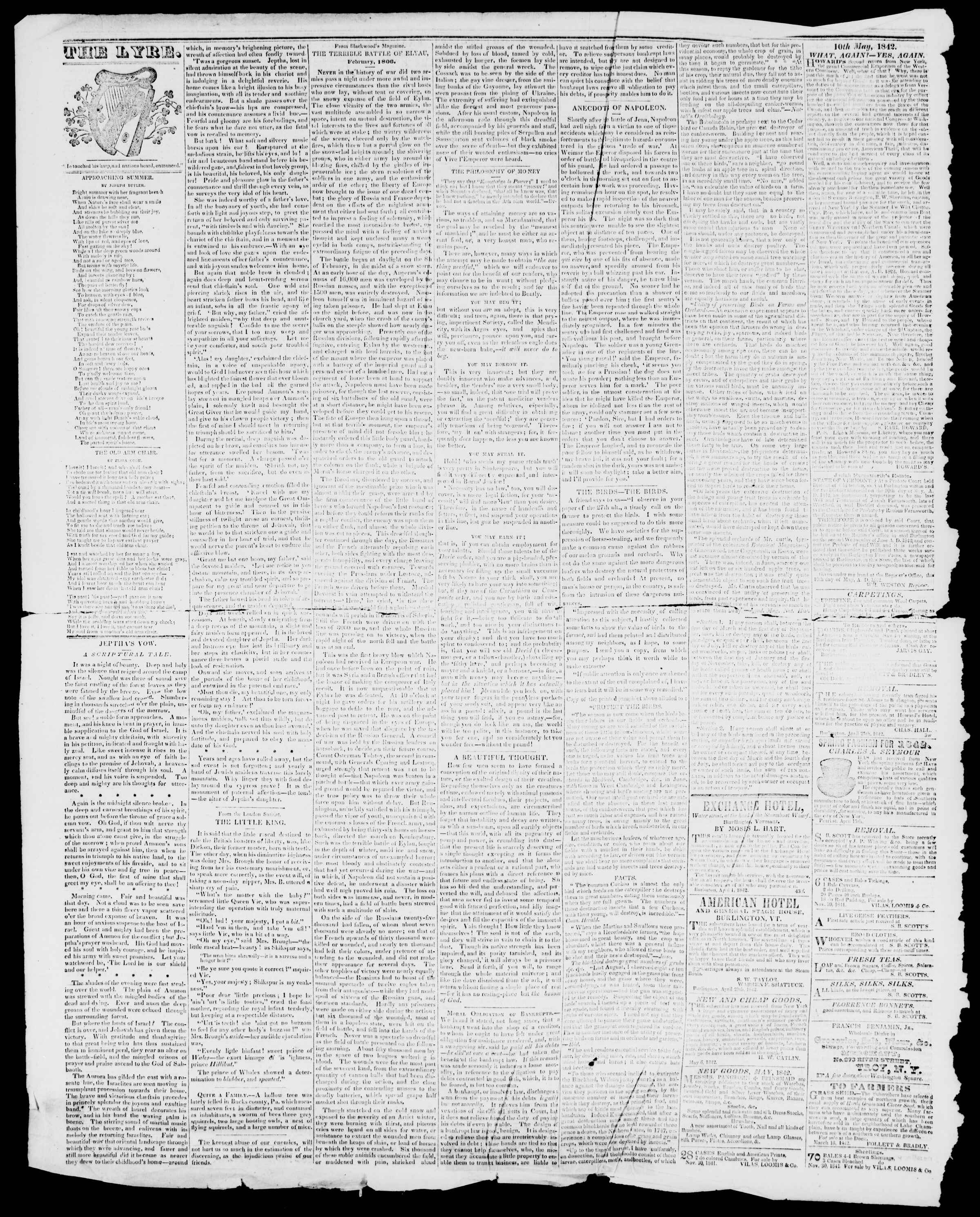Newspaper of Burlington Free Press dated May 27, 1842 Page 4