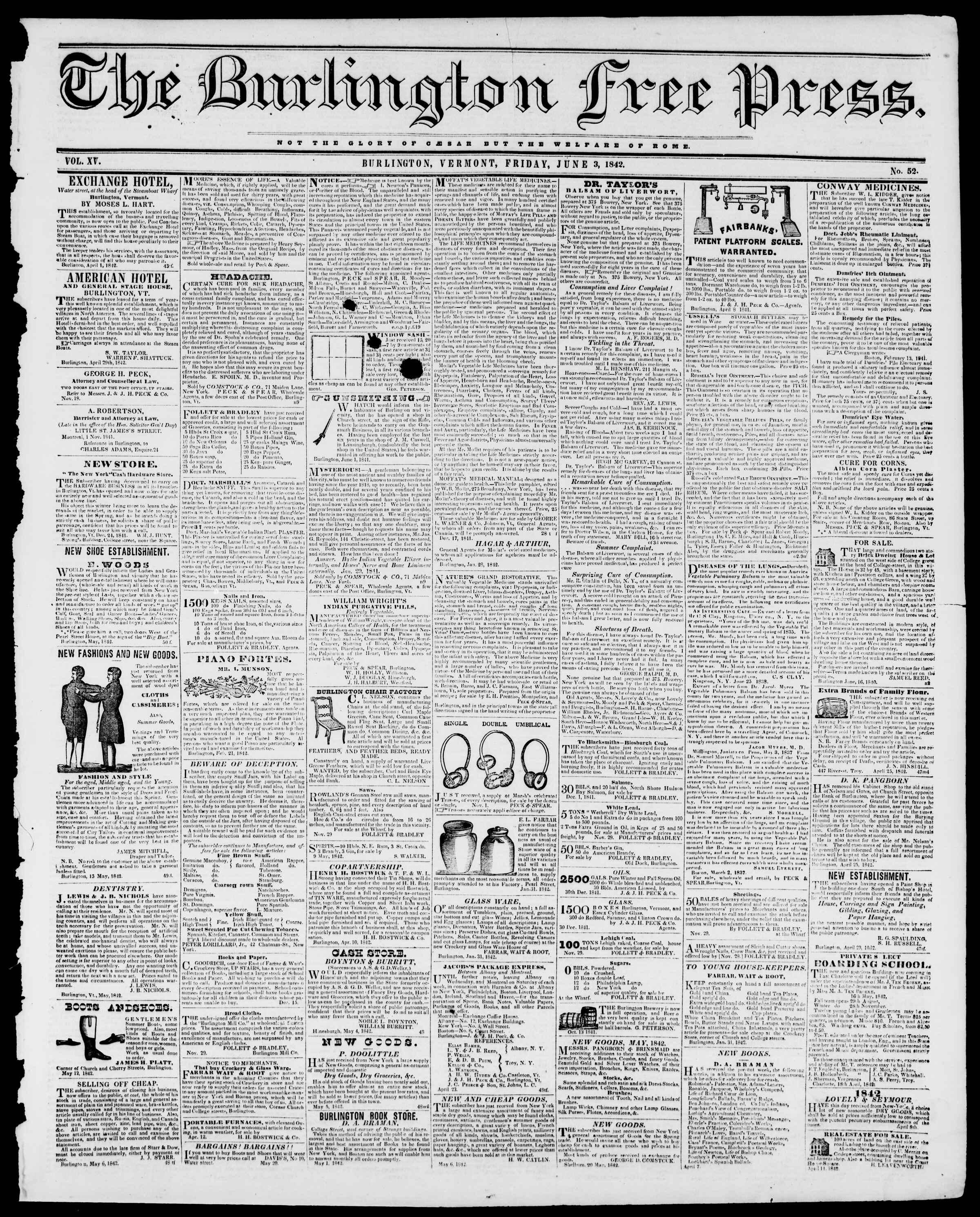 Newspaper of Burlington Free Press dated June 3, 1842 Page 1