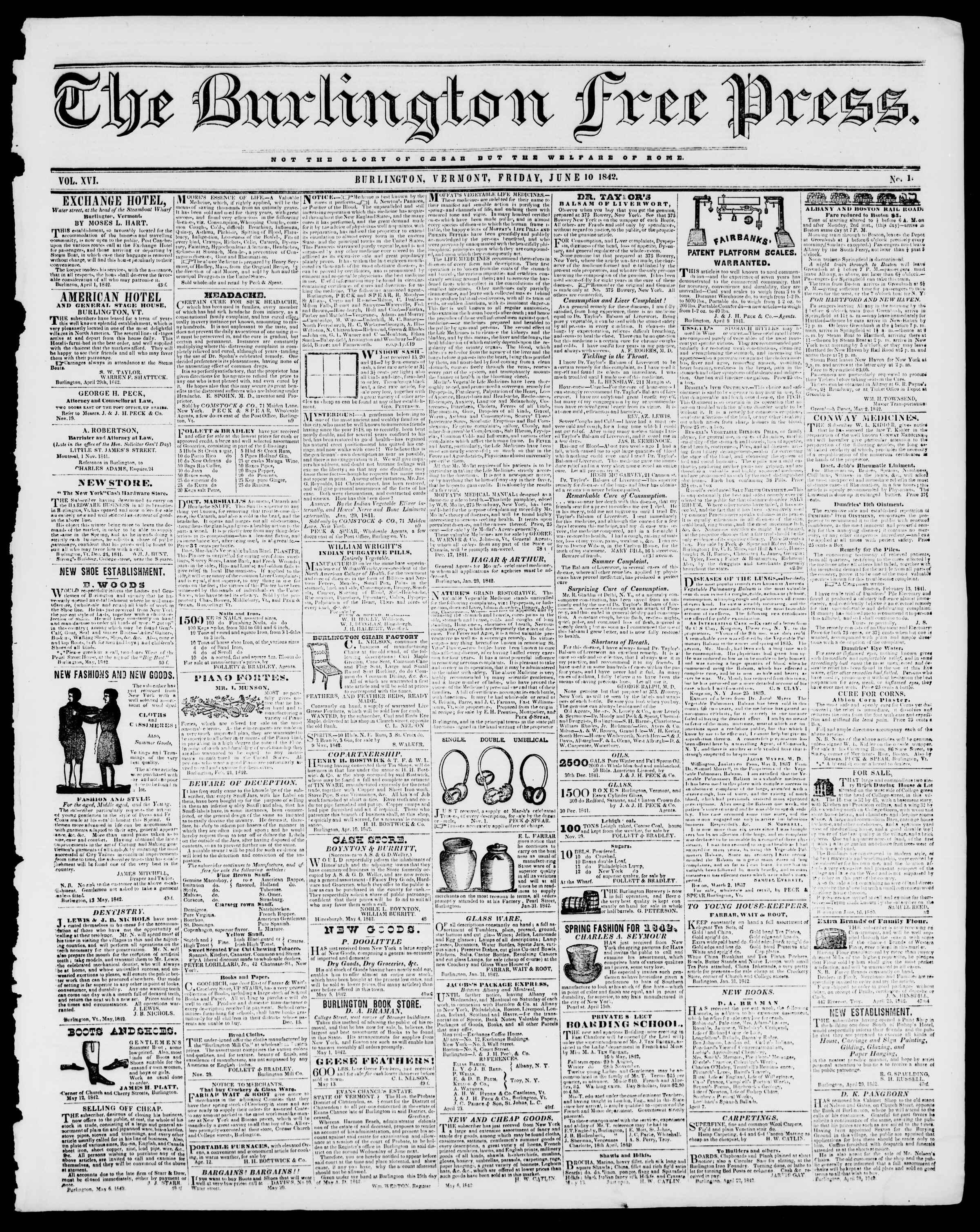 Newspaper of Burlington Free Press dated June 10, 1842 Page 1