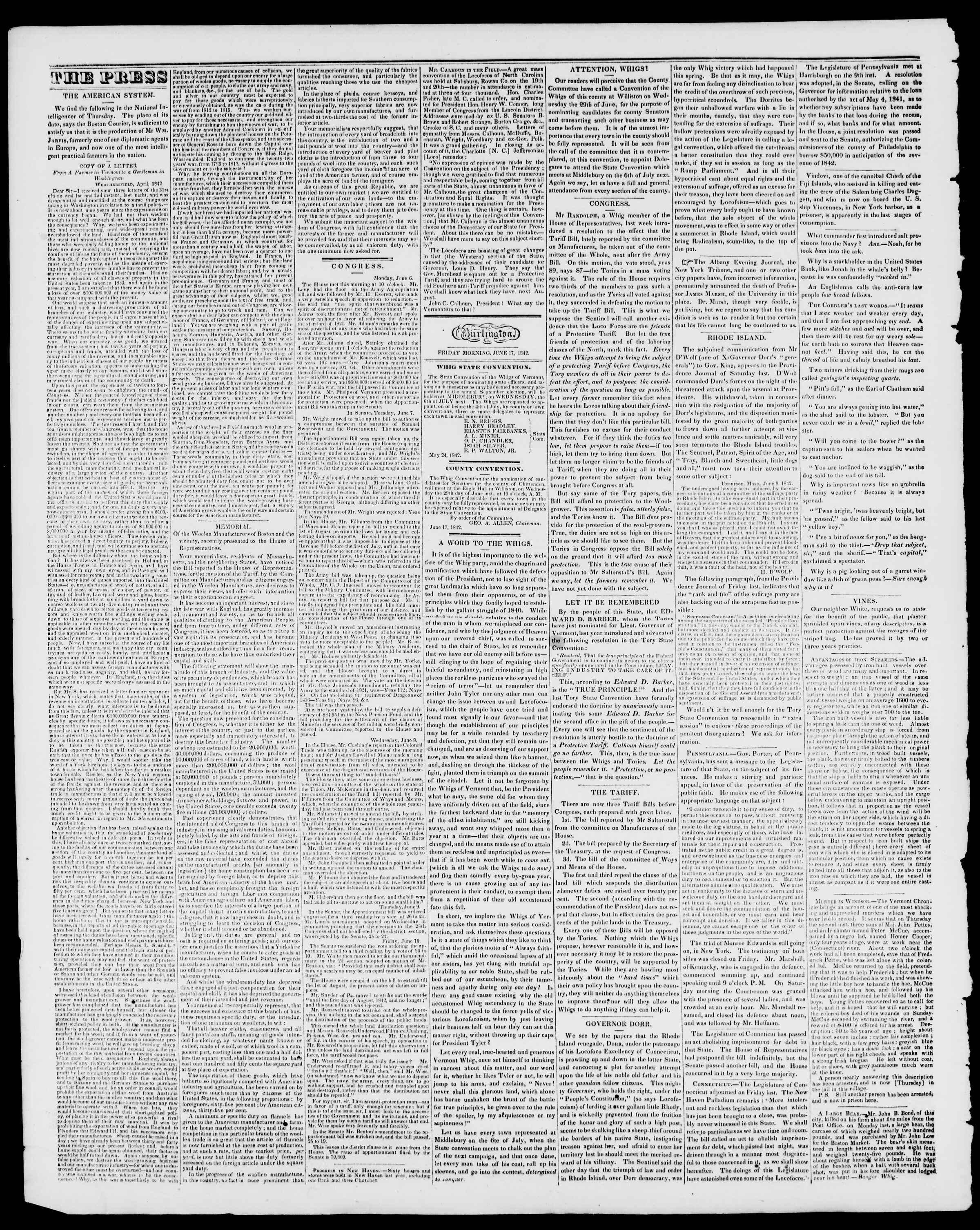 Newspaper of Burlington Free Press dated June 17, 1842 Page 2