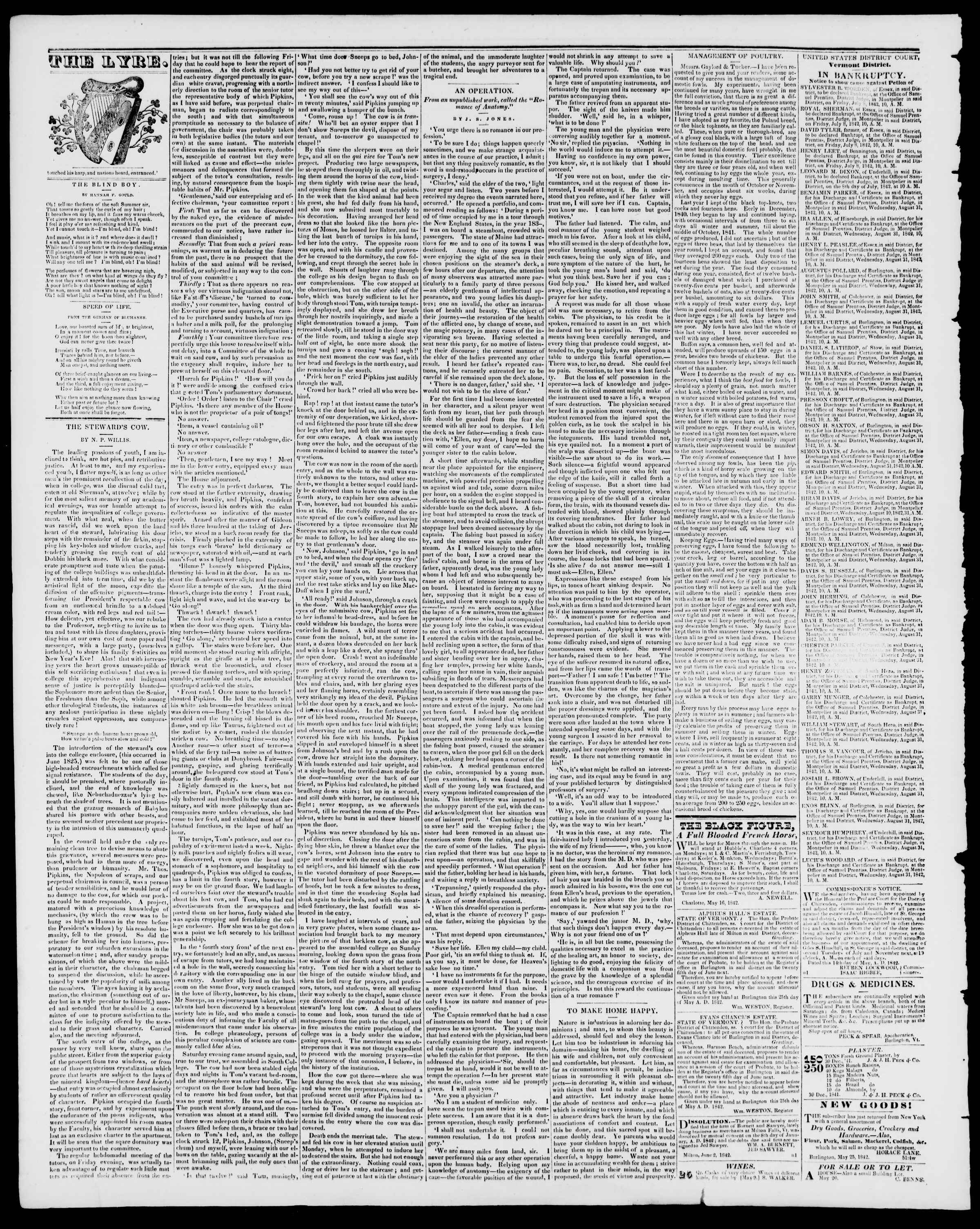 Newspaper of Burlington Free Press dated June 24, 1842 Page 4