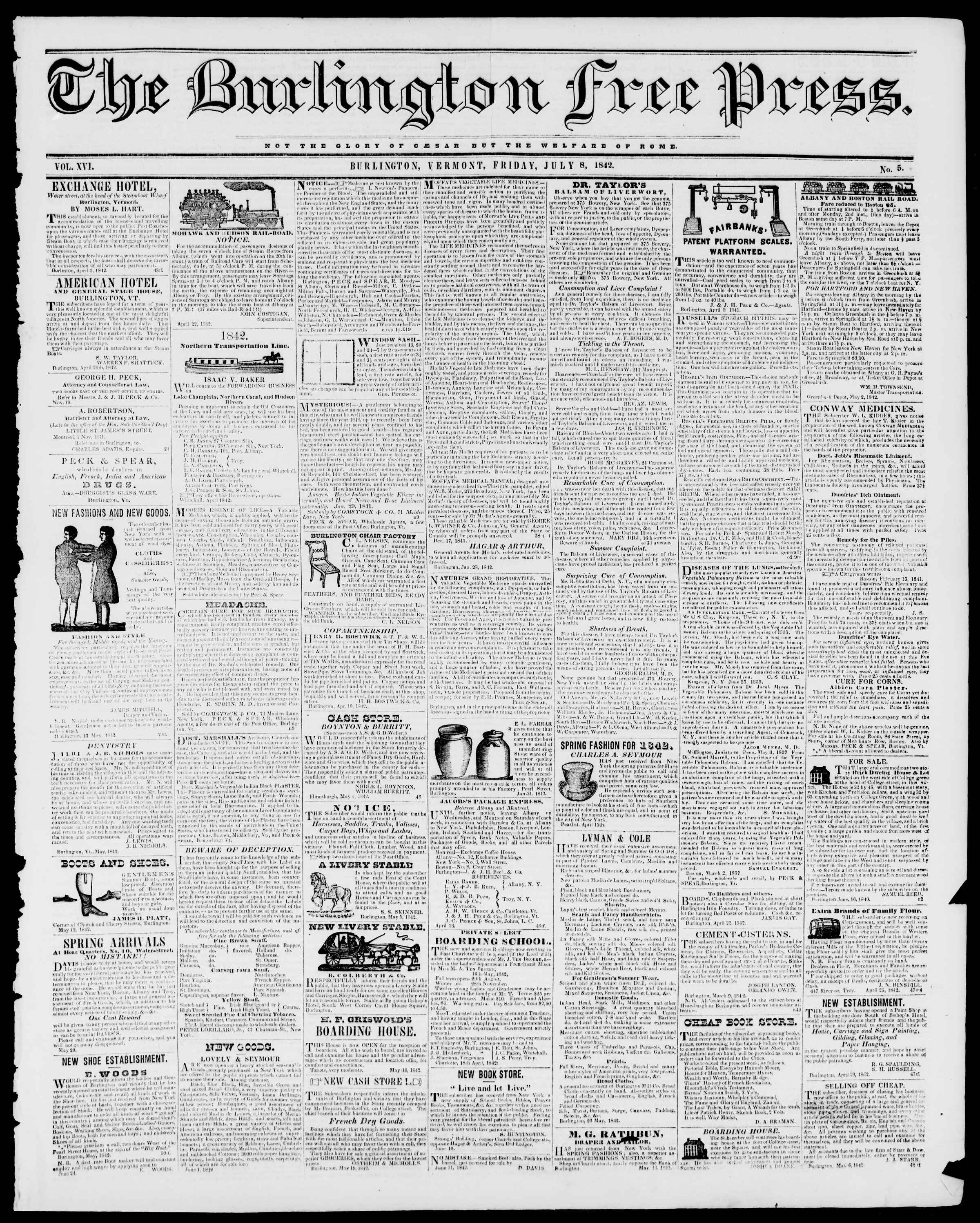 Newspaper of Burlington Free Press dated July 8, 1842 Page 1