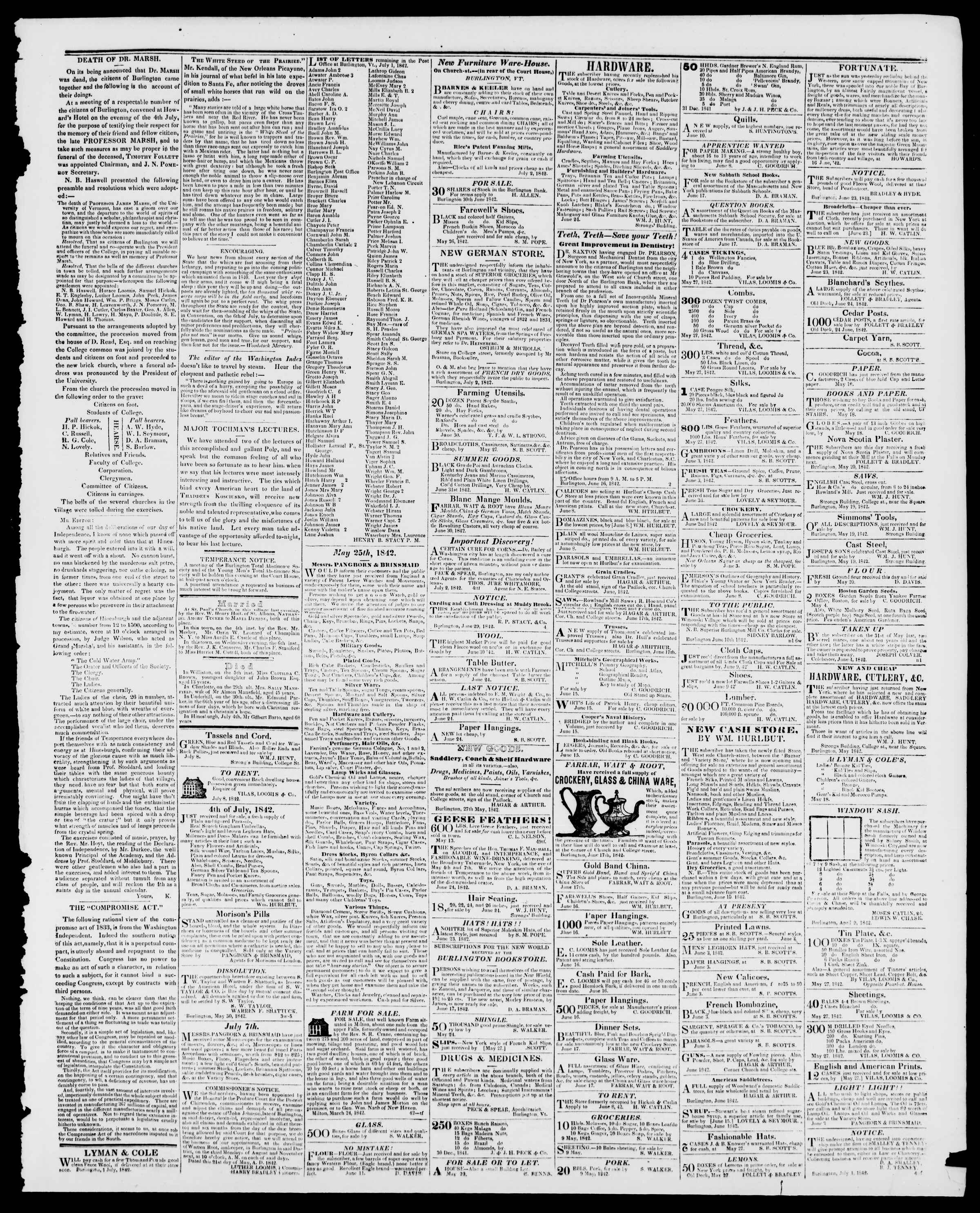 Newspaper of Burlington Free Press dated July 8, 1842 Page 3
