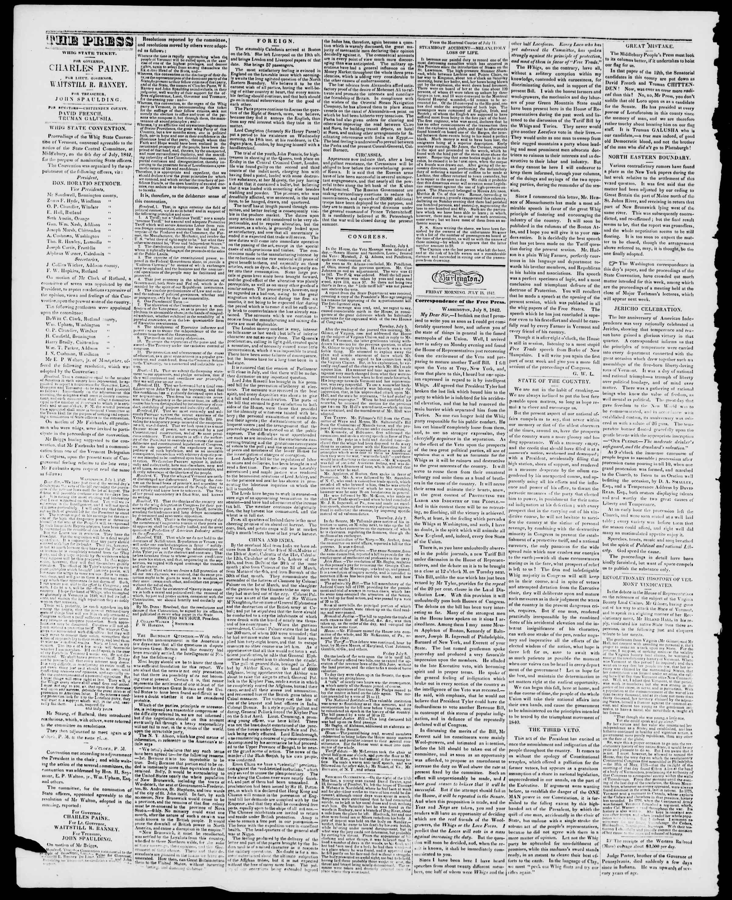 Newspaper of Burlington Free Press dated July 15, 1842 Page 2