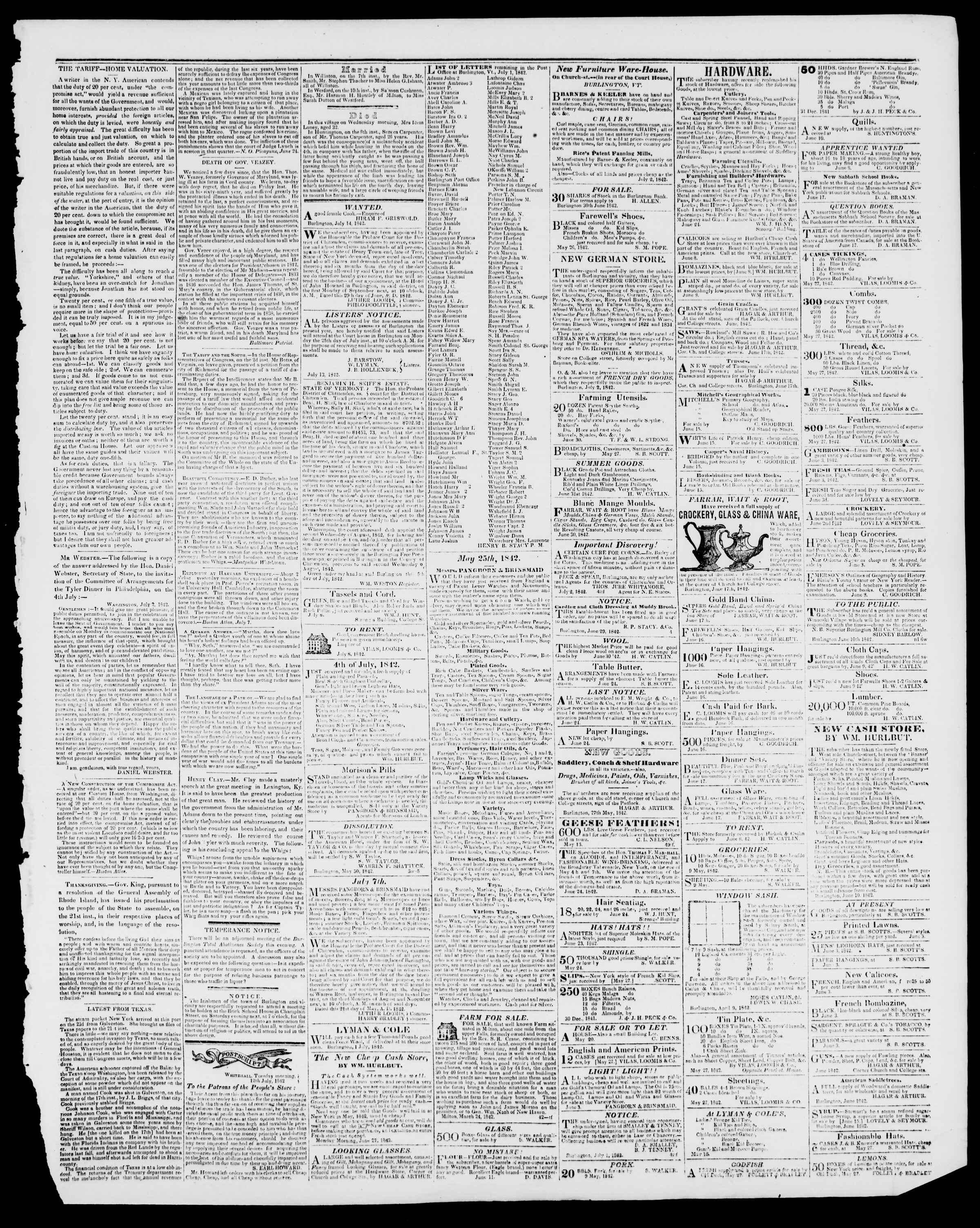 Newspaper of Burlington Free Press dated July 15, 1842 Page 3