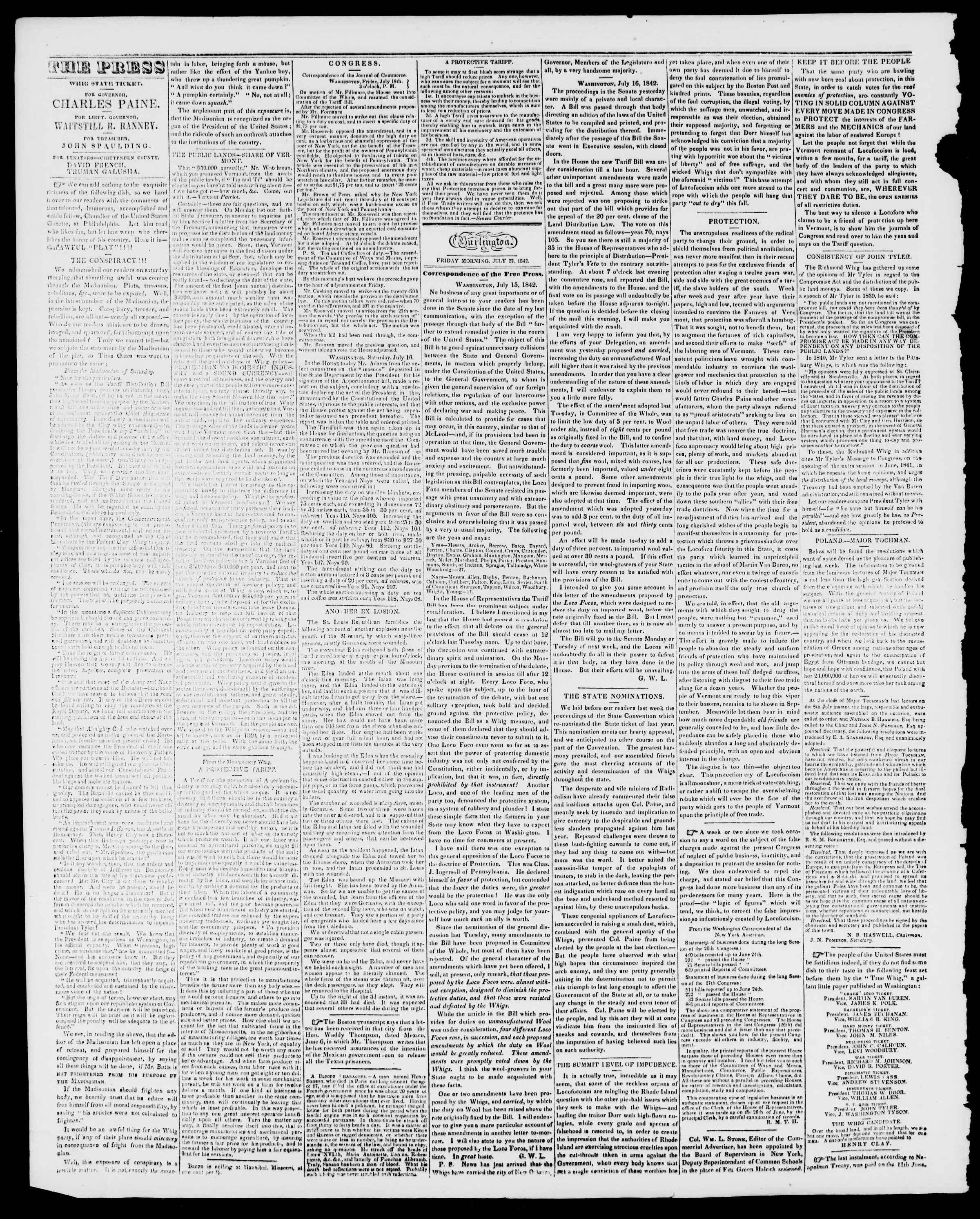 Newspaper of Burlington Free Press dated July 22, 1842 Page 2