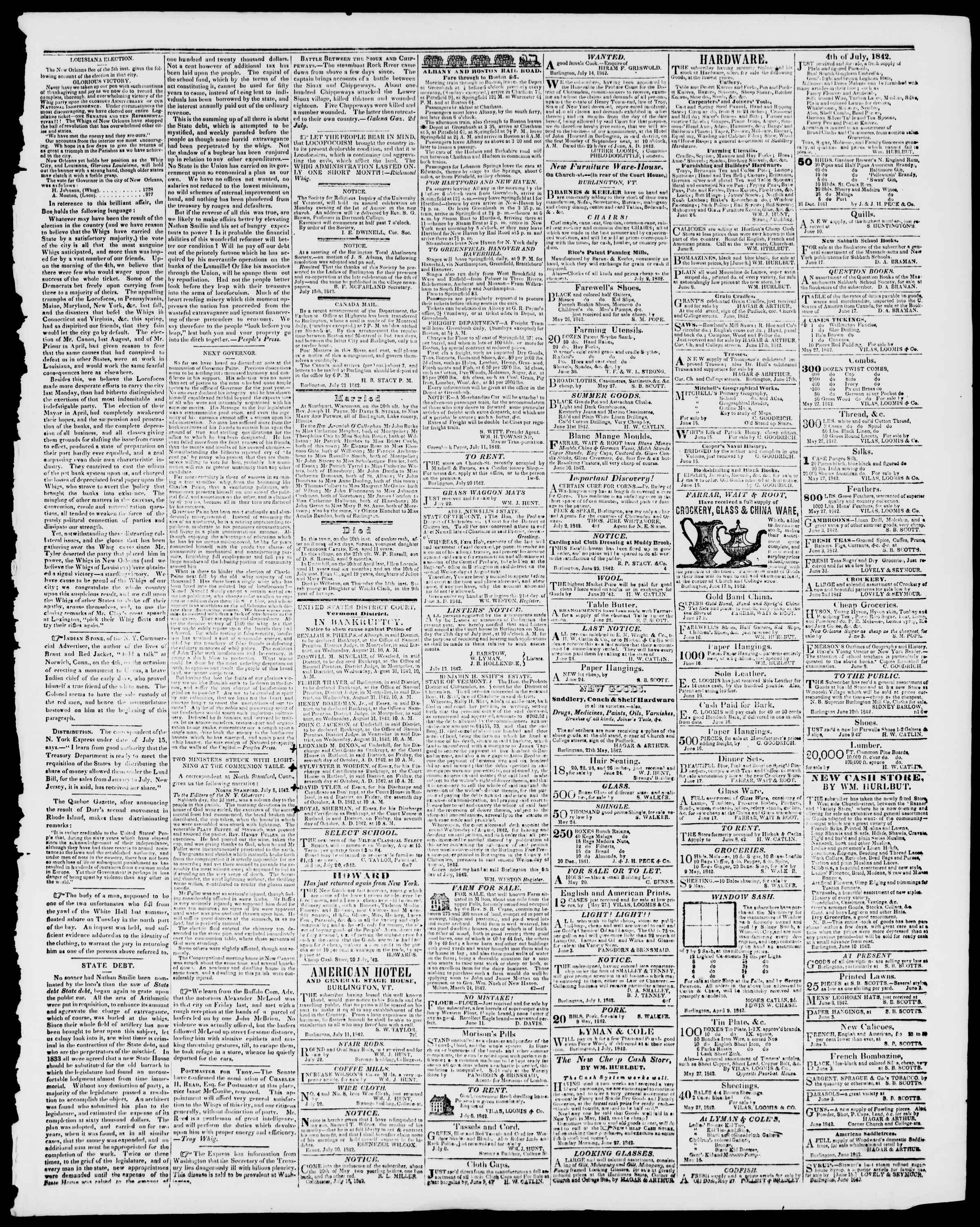 Newspaper of Burlington Free Press dated July 22, 1842 Page 3