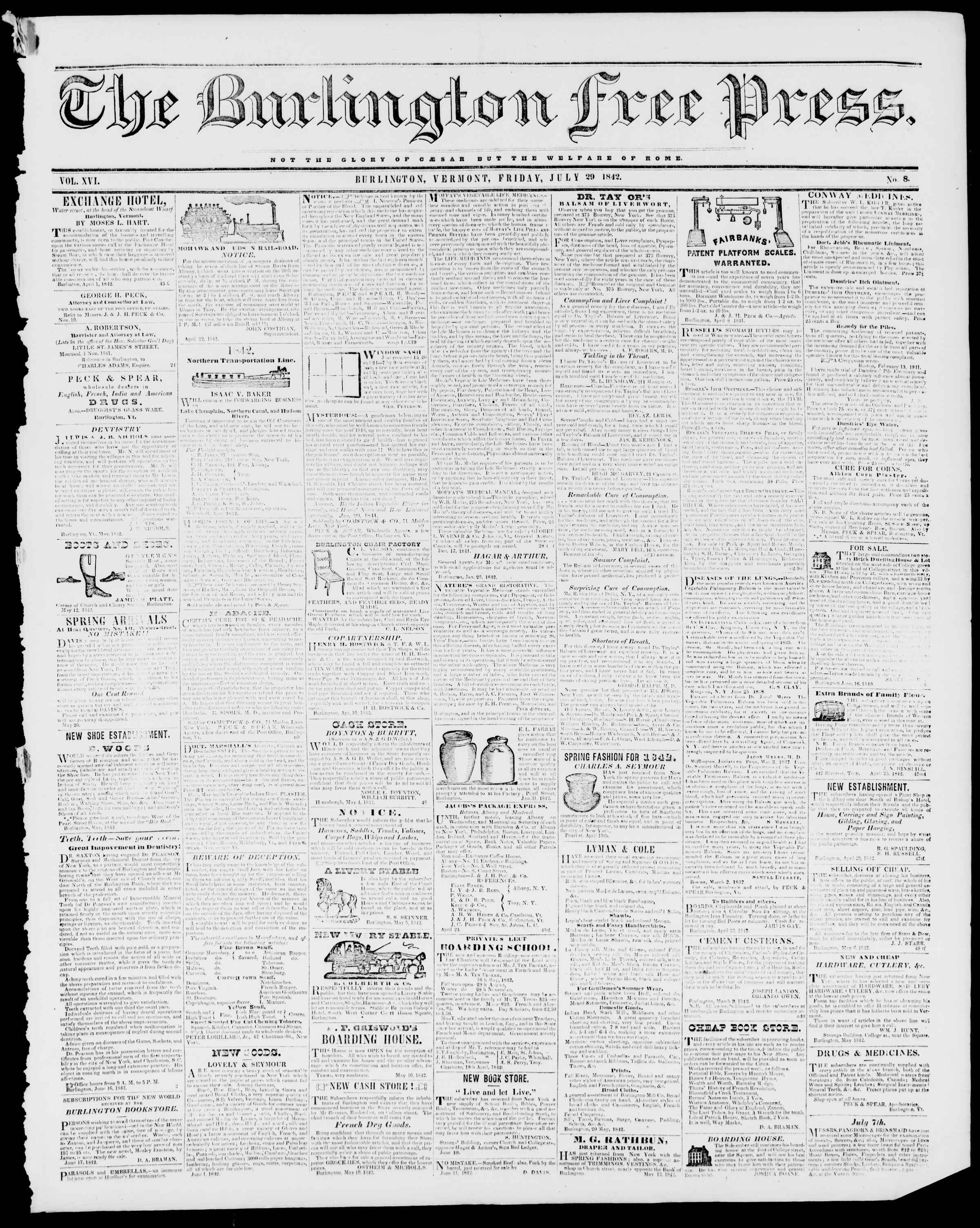 Newspaper of Burlington Free Press dated July 29, 1842 Page 1