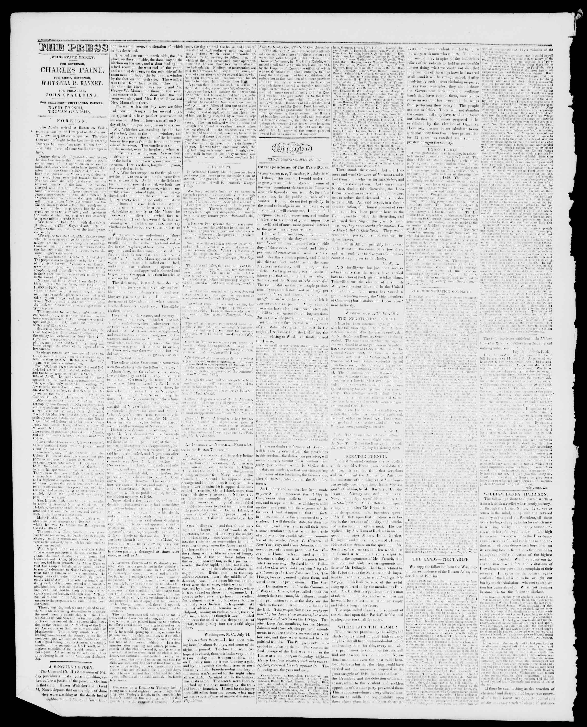 Newspaper of Burlington Free Press dated July 29, 1842 Page 2