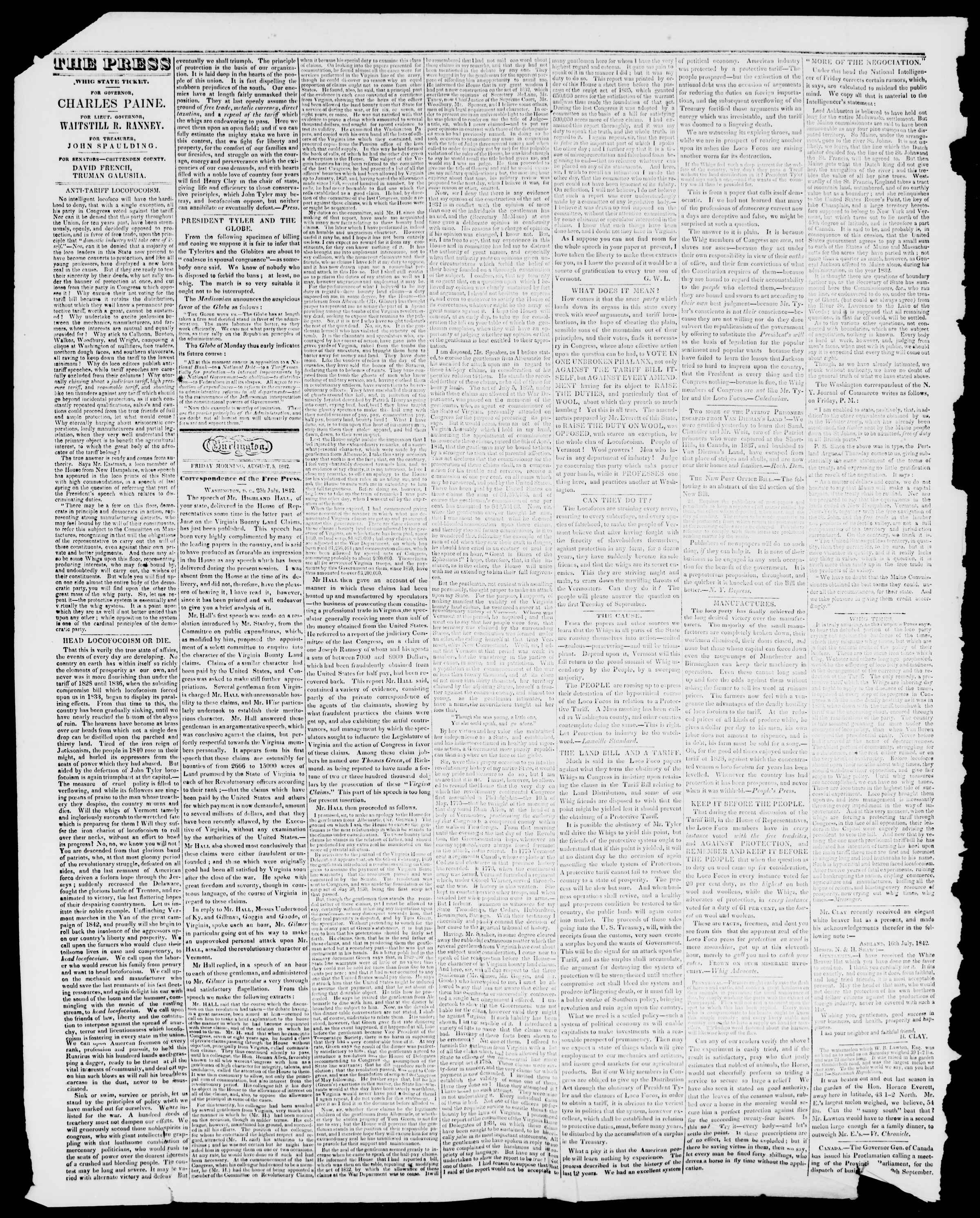 Newspaper of Burlington Free Press dated August 5, 1842 Page 2