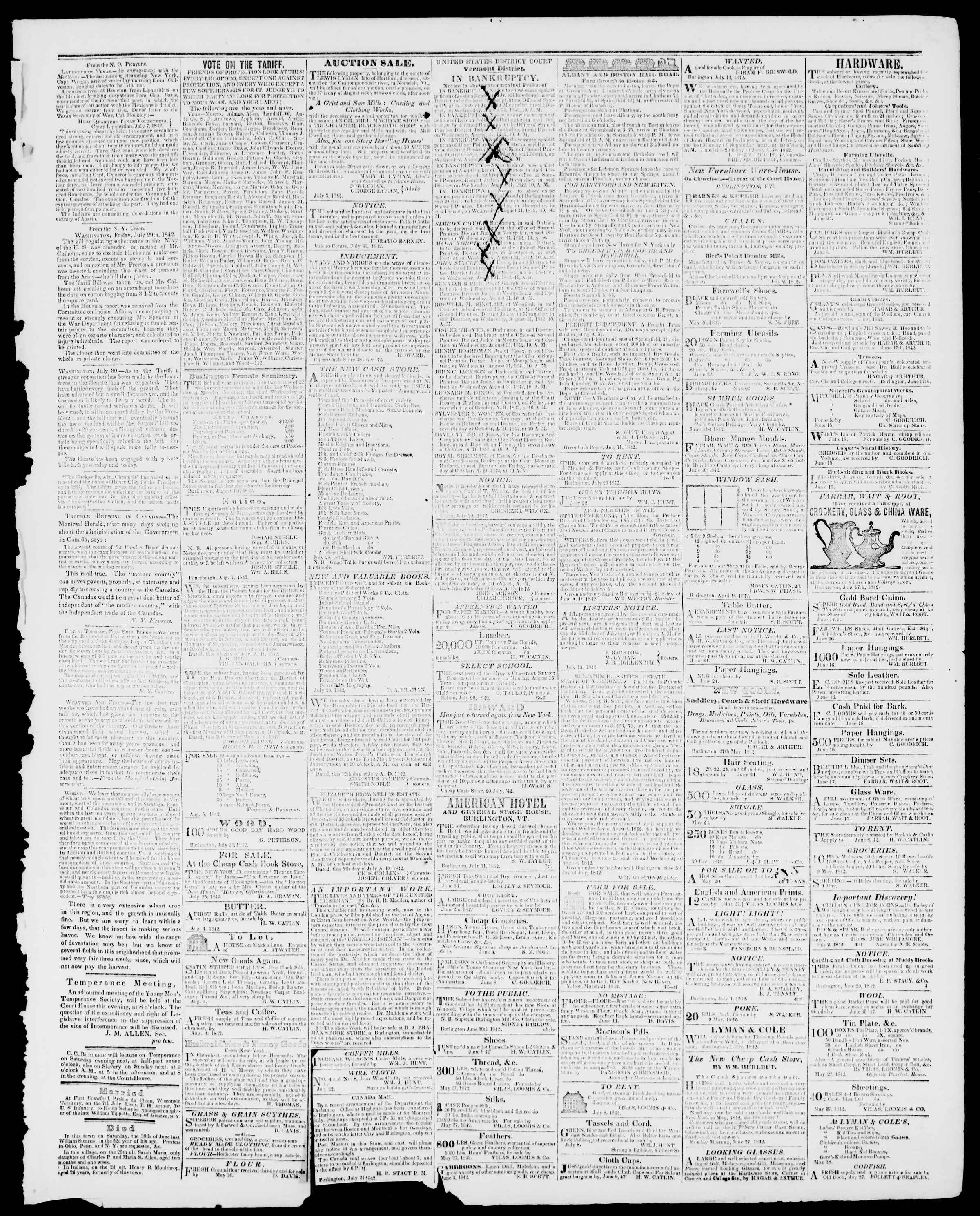 Newspaper of Burlington Free Press dated August 5, 1842 Page 3