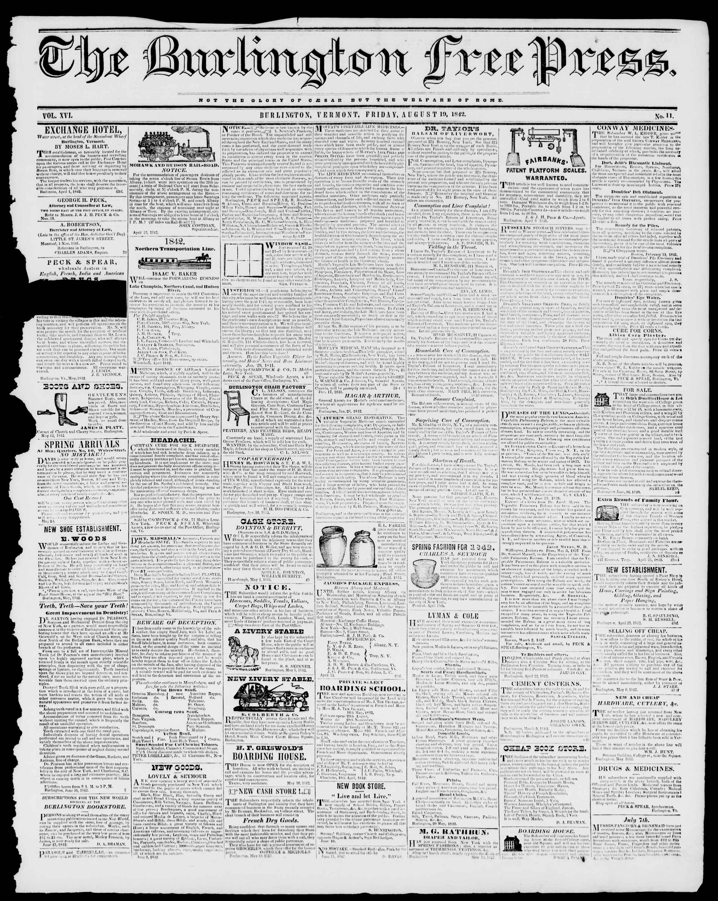 Newspaper of Burlington Free Press dated August 19, 1842 Page 1