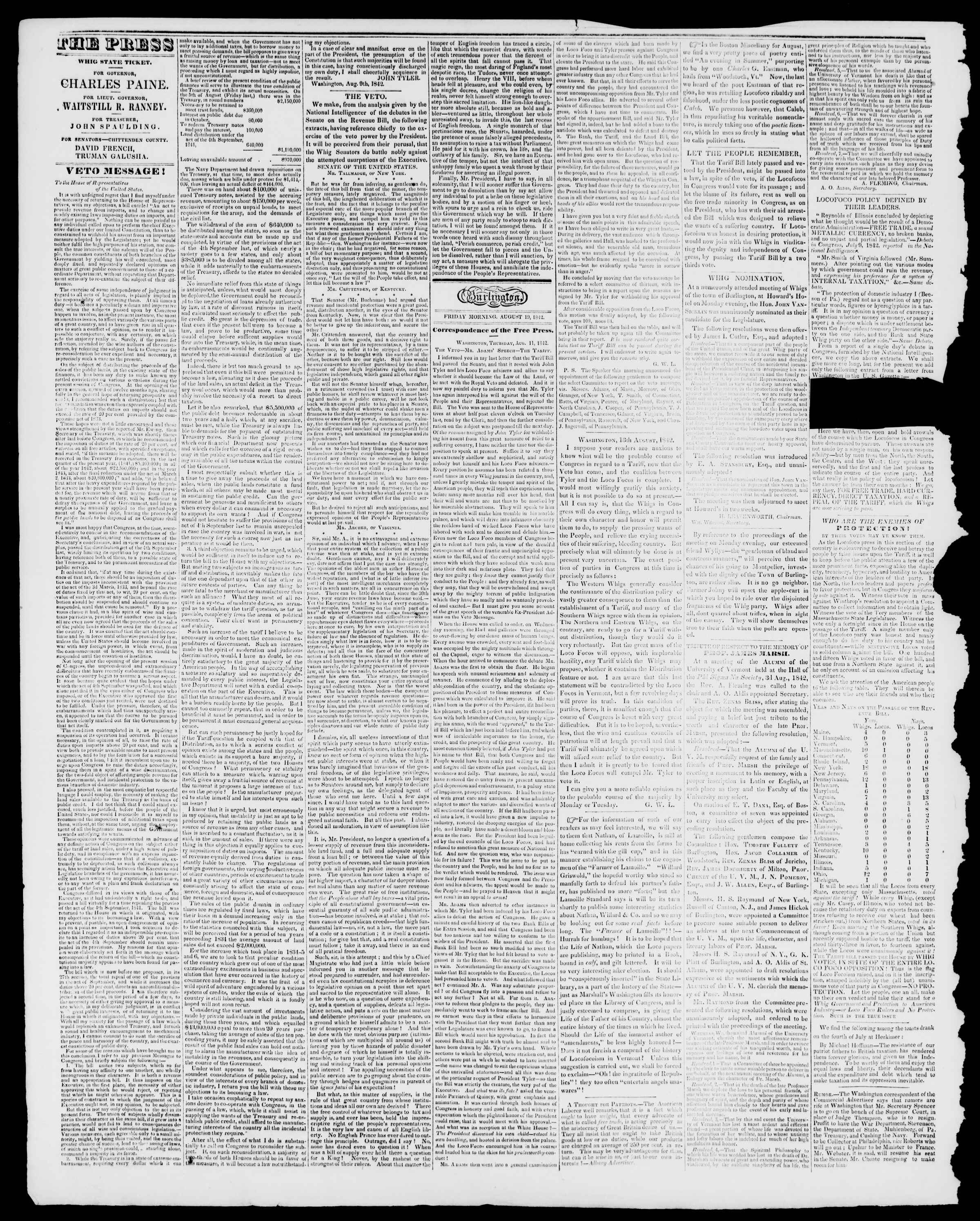 Newspaper of Burlington Free Press dated August 19, 1842 Page 2
