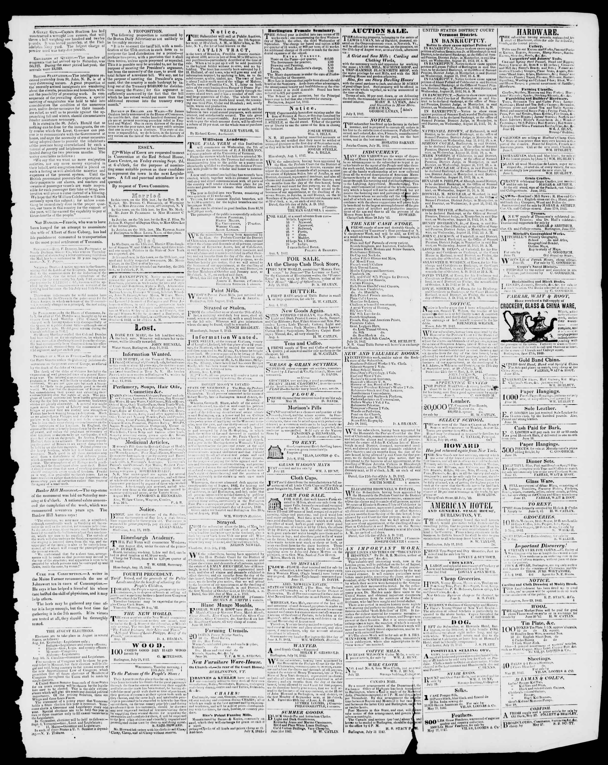 Newspaper of Burlington Free Press dated August 19, 1842 Page 3