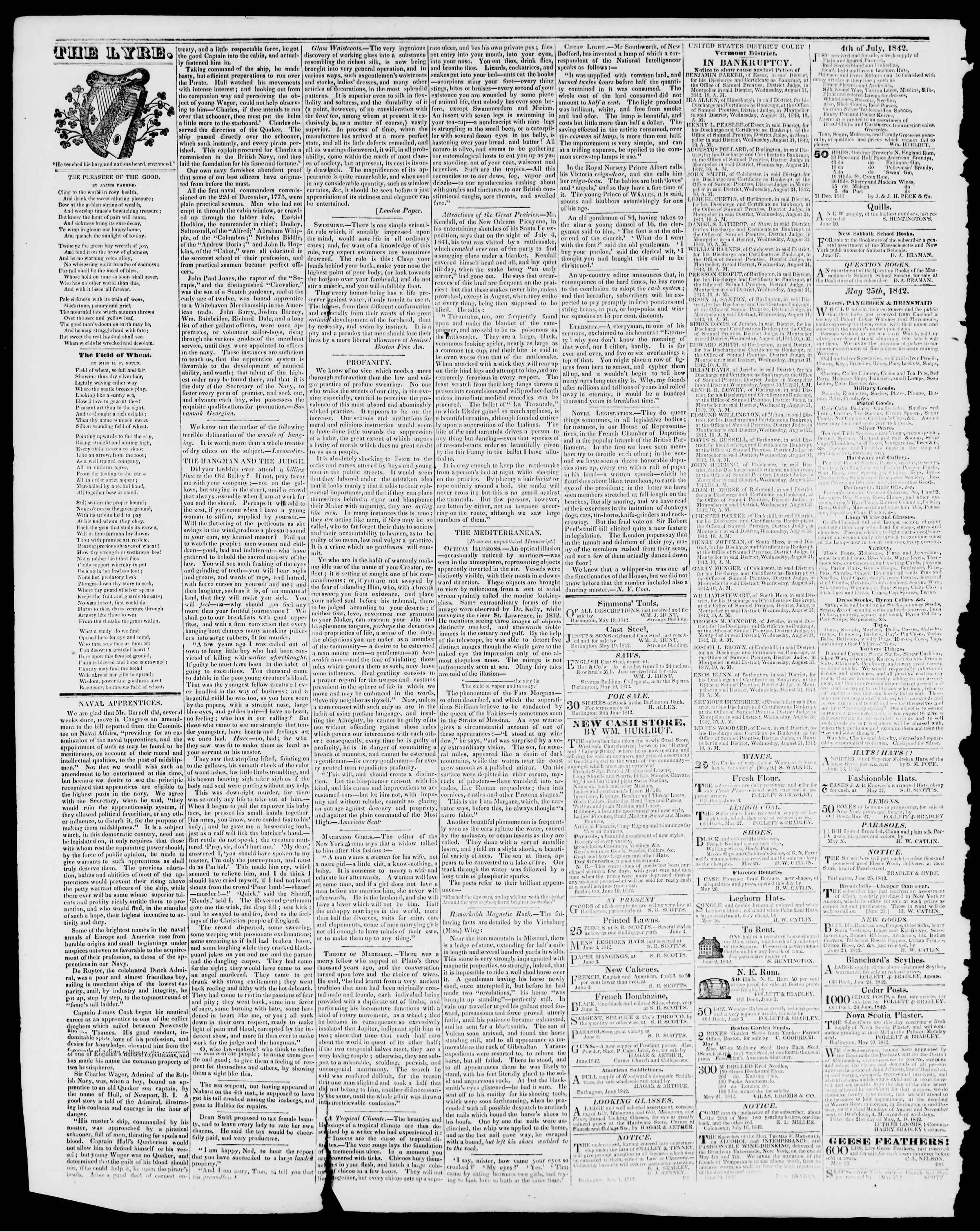 Newspaper of Burlington Free Press dated August 19, 1842 Page 4