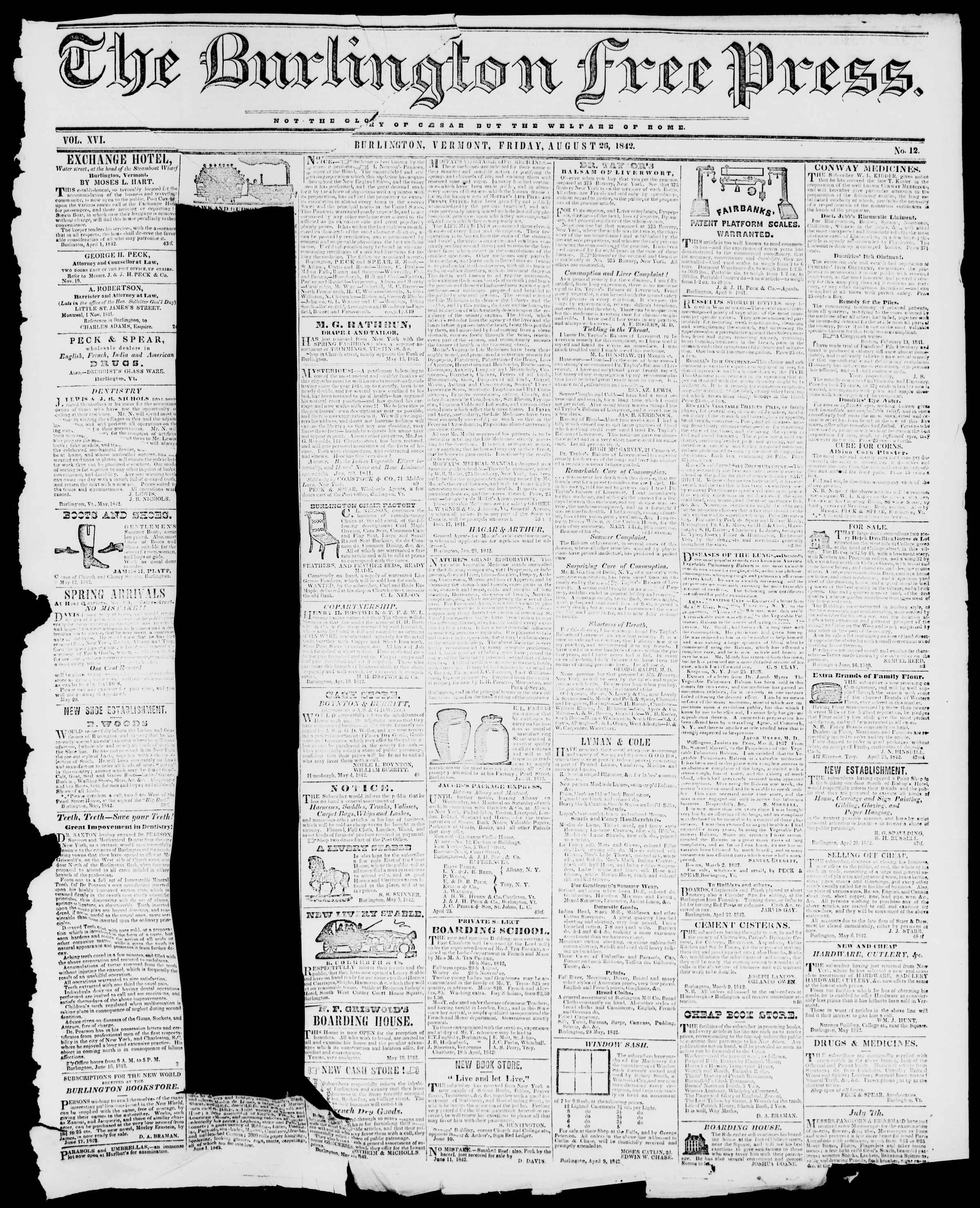 Newspaper of Burlington Free Press dated August 26, 1842 Page 1