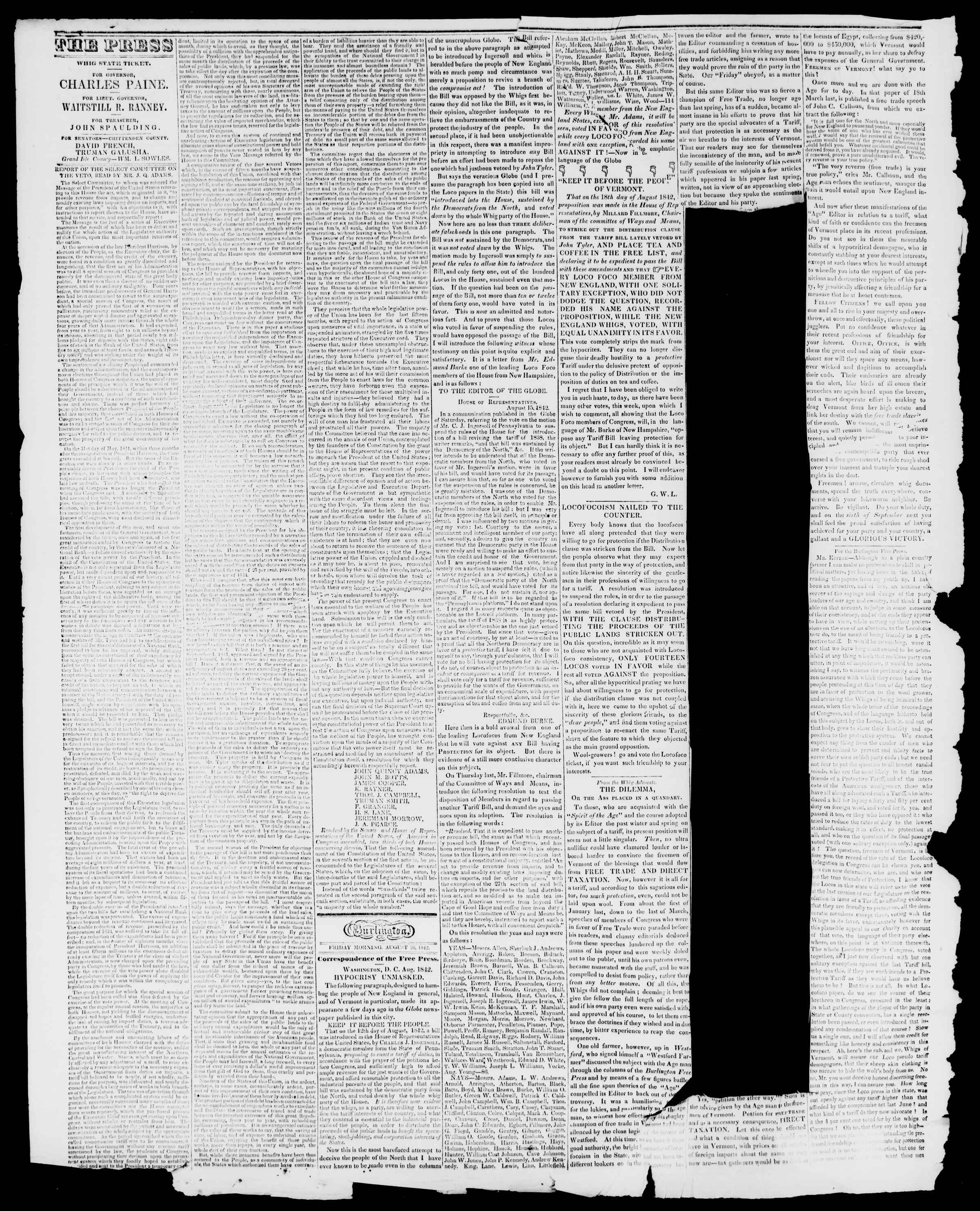 Newspaper of Burlington Free Press dated August 26, 1842 Page 2