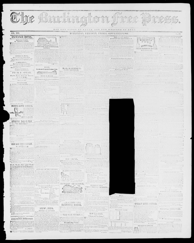 Newspaper of Burlington Free Press dated September 2, 1842 Page 1