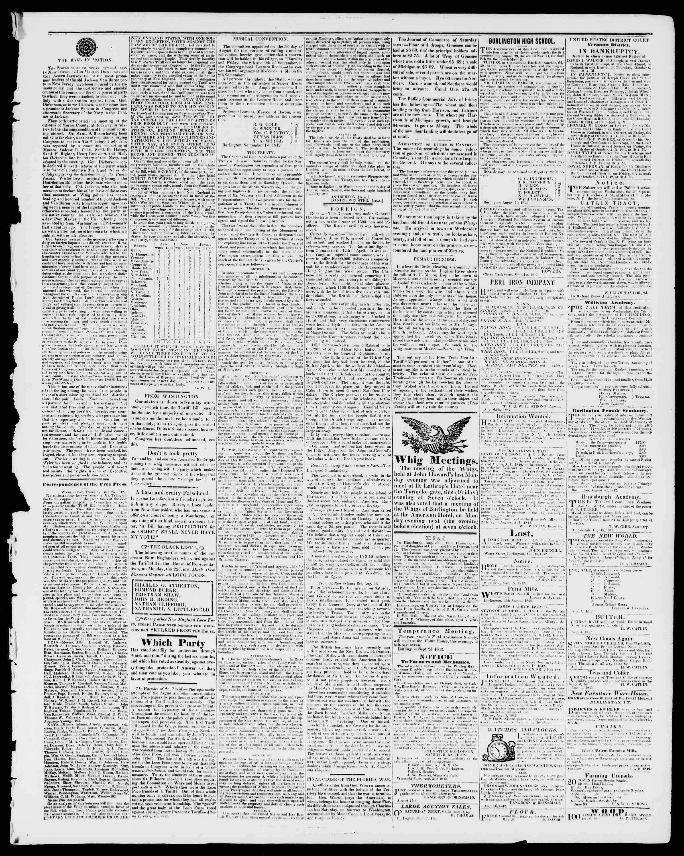 Newspaper of Burlington Free Press dated September 2, 1842 Page 3