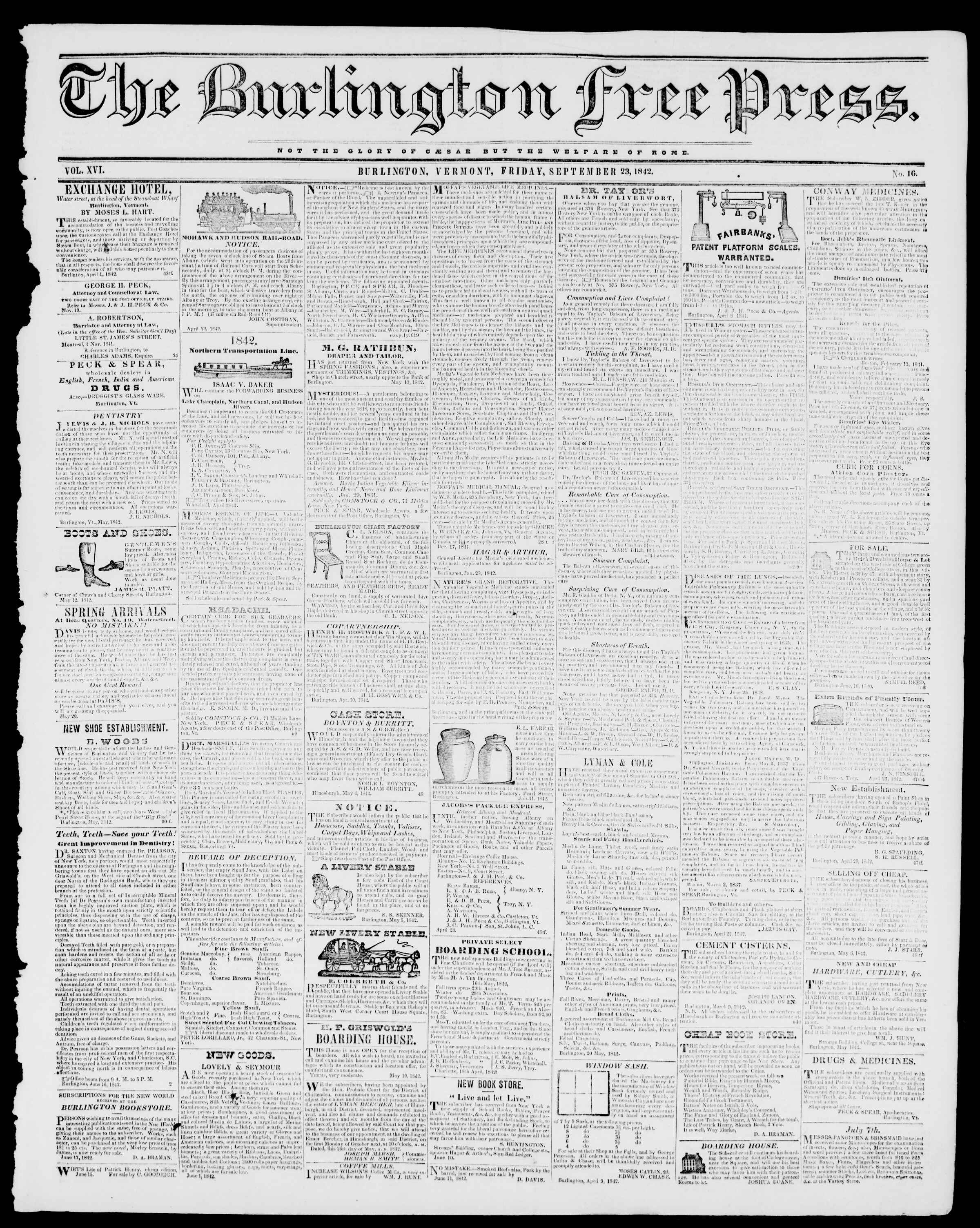 Newspaper of Burlington Free Press dated September 23, 1842 Page 1