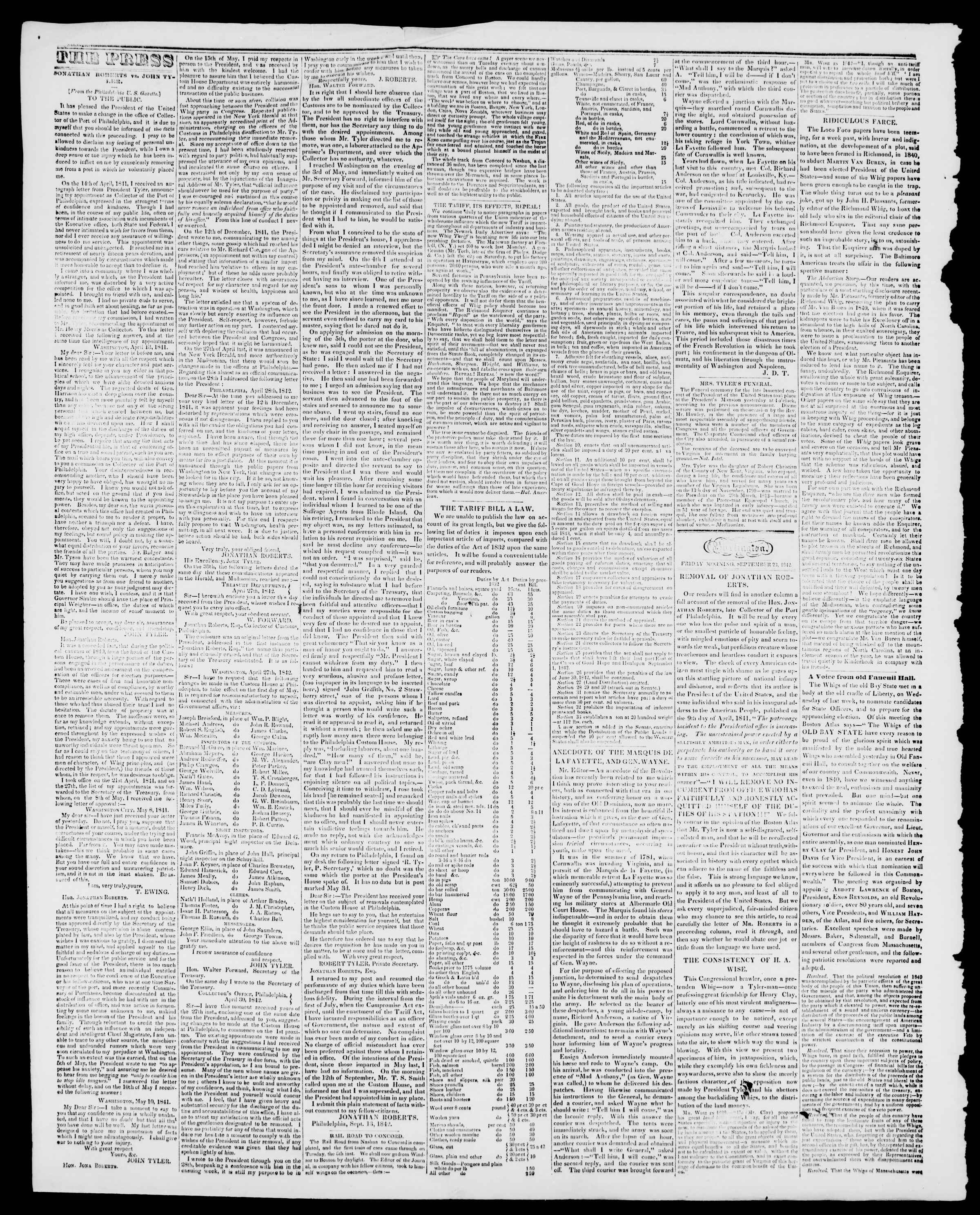 Newspaper of Burlington Free Press dated September 23, 1842 Page 2