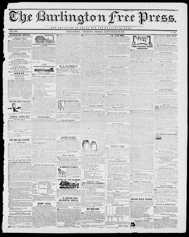 Newspaper of Burlington Free Press dated September 30, 1842 Page 1