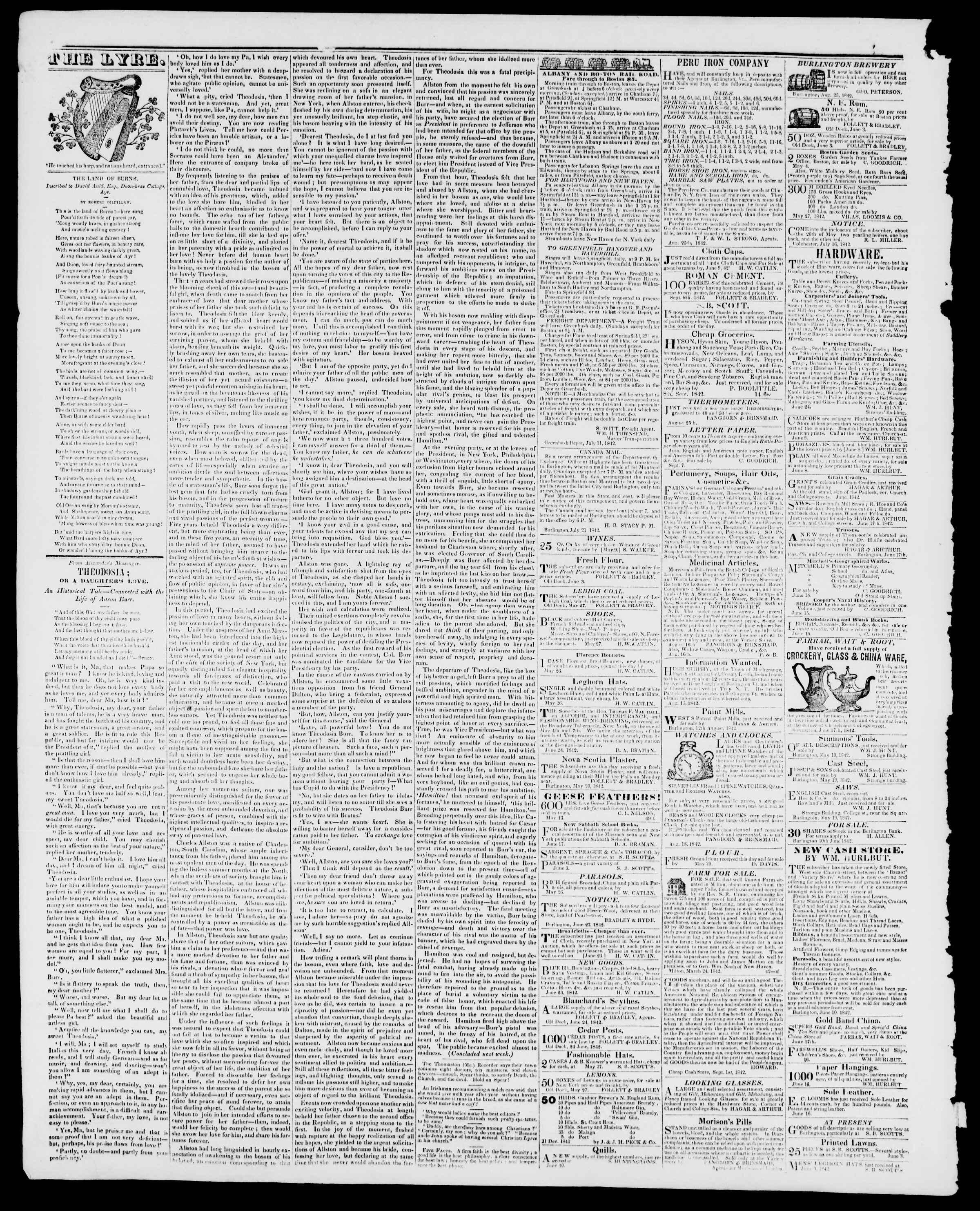 Newspaper of Burlington Free Press dated September 30, 1842 Page 4