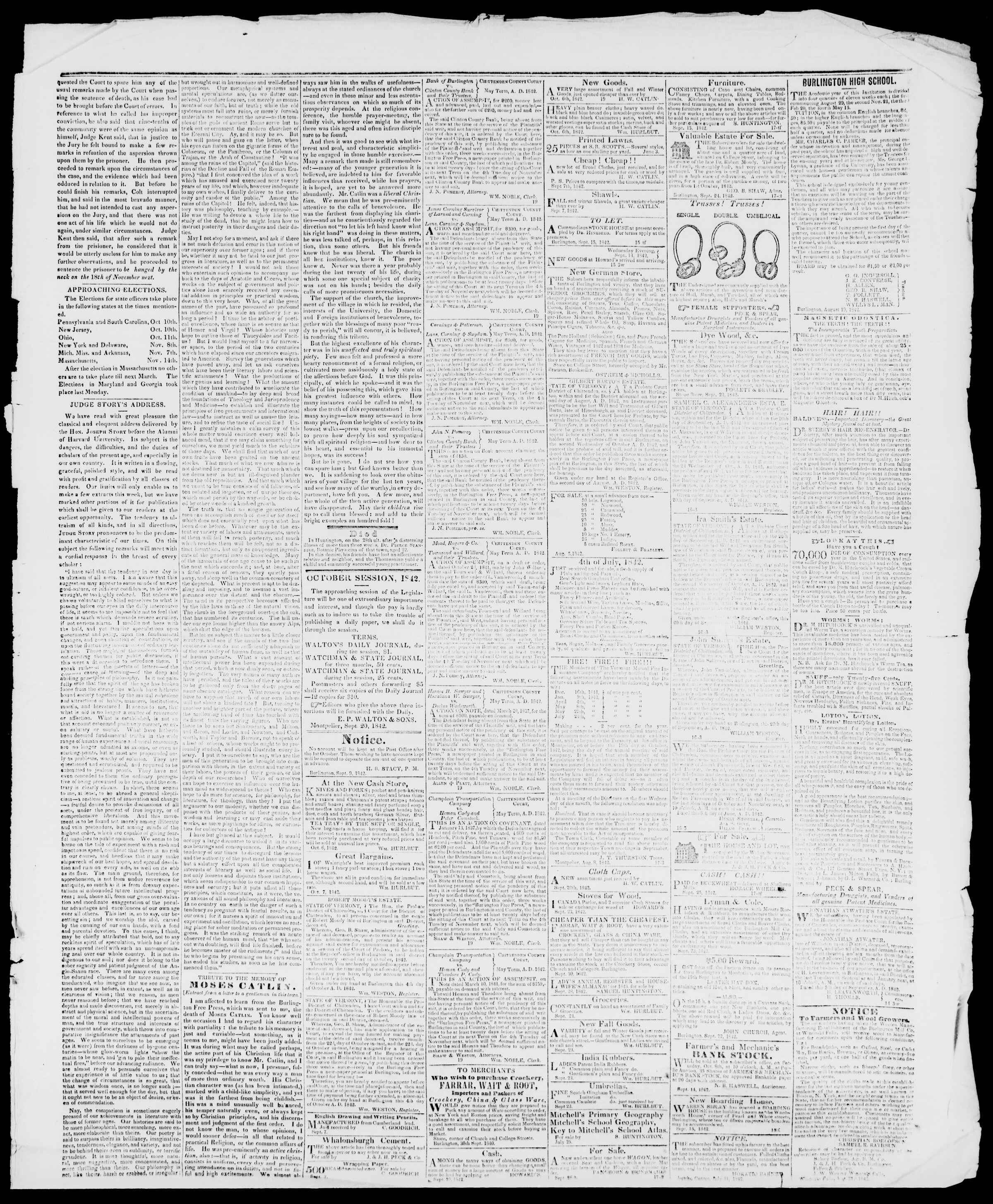 Newspaper of Burlington Free Press dated October 7, 1842 Page 3
