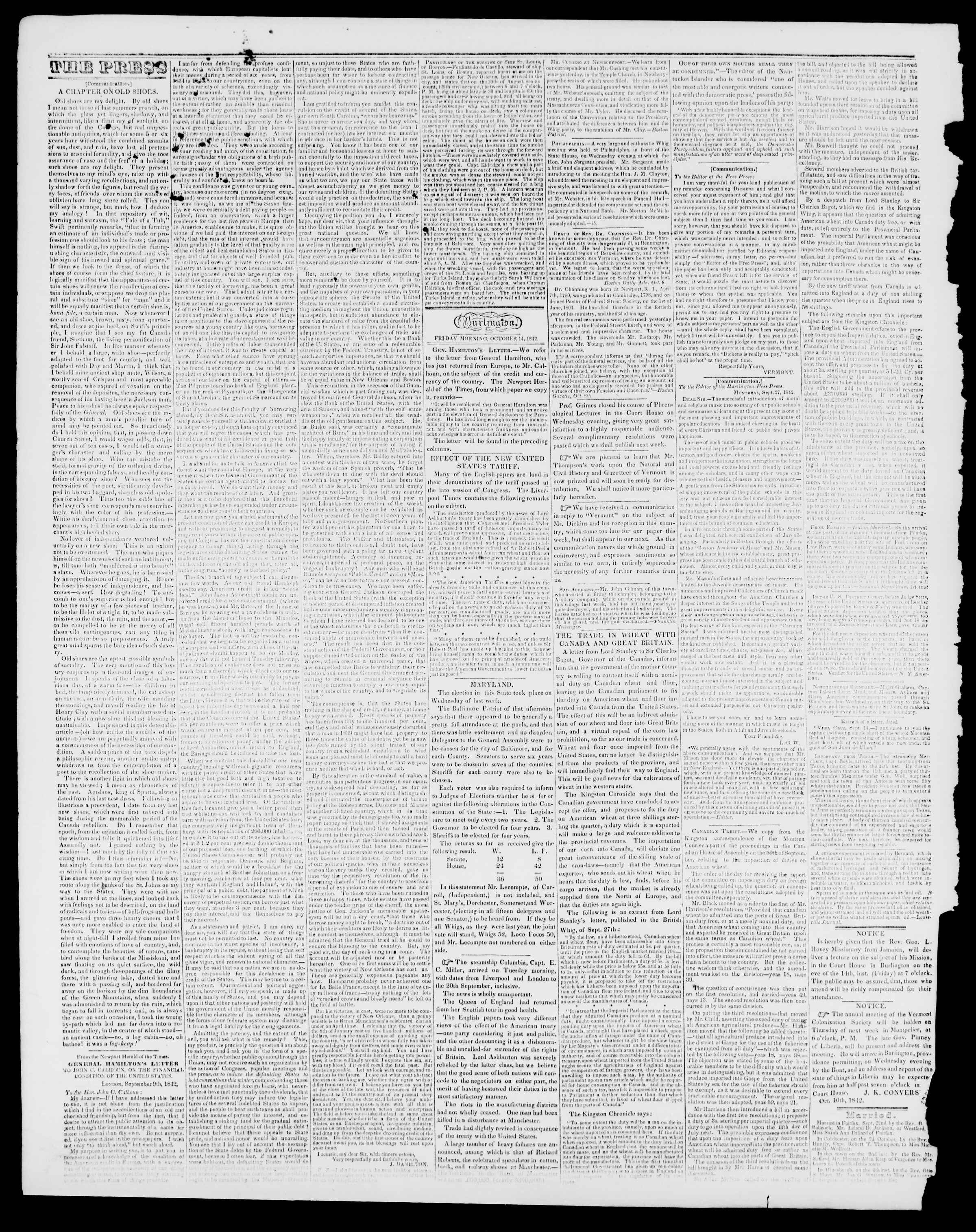 Newspaper of Burlington Free Press dated October 14, 1842 Page 2