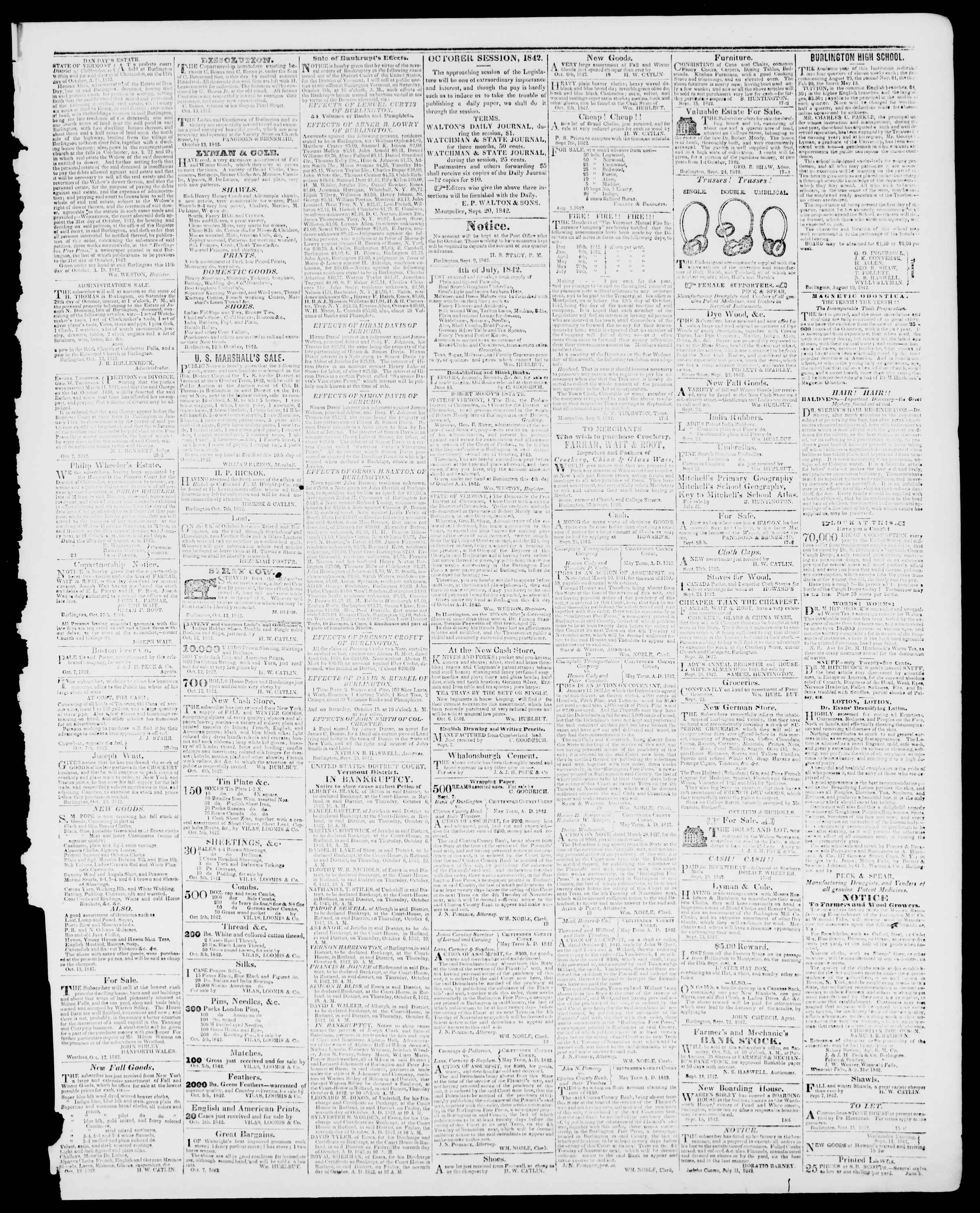 Newspaper of Burlington Free Press dated October 14, 1842 Page 3