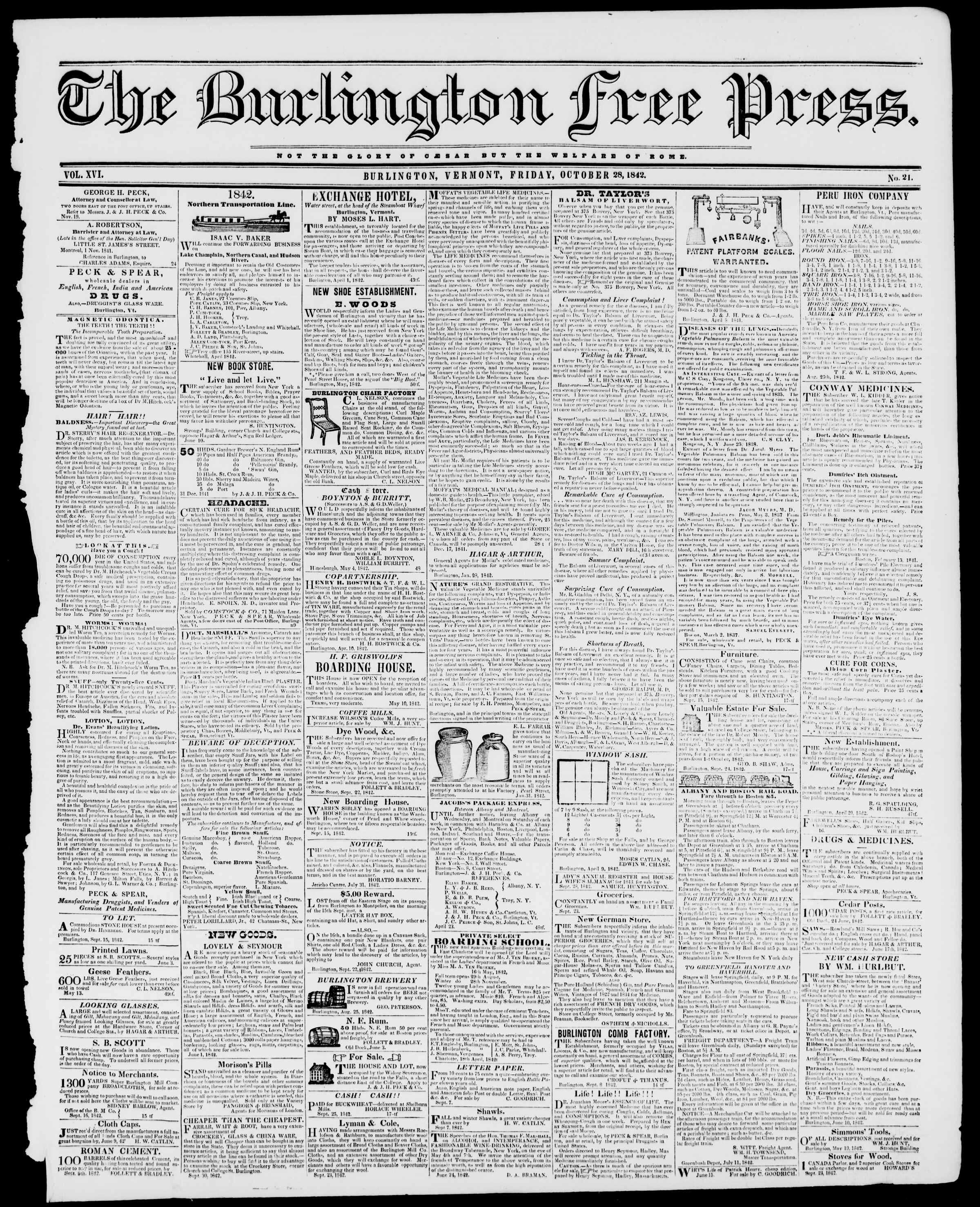 Newspaper of Burlington Free Press dated October 28, 1842 Page 1