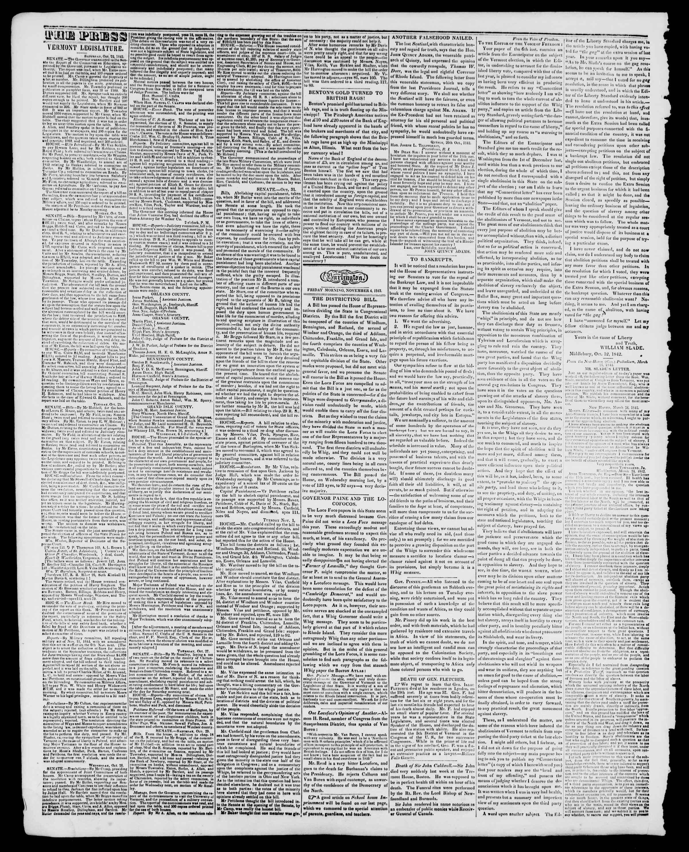 Newspaper of Burlington Free Press dated November 4, 1842 Page 2