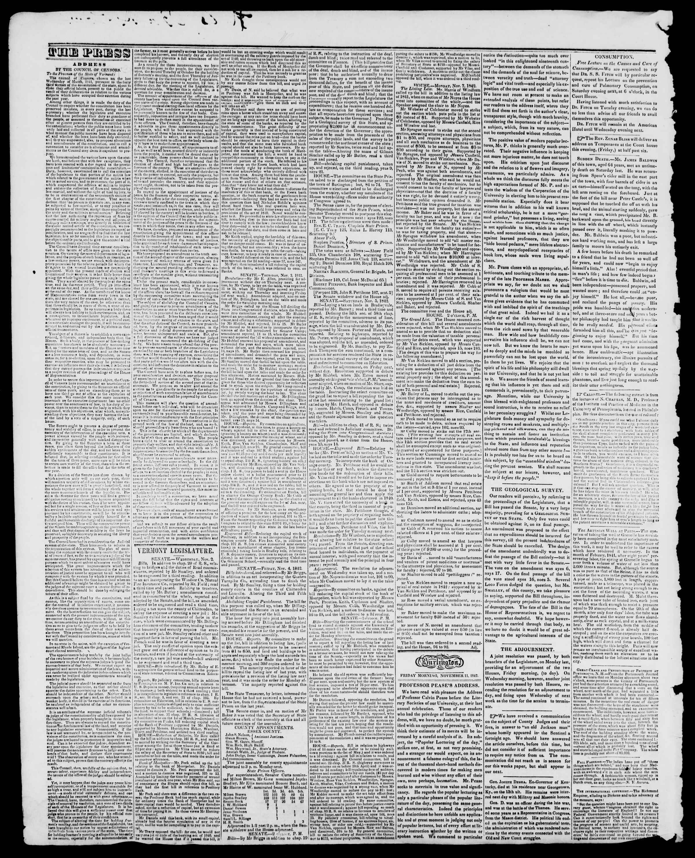Newspaper of Burlington Free Press dated November 11, 1842 Page 2
