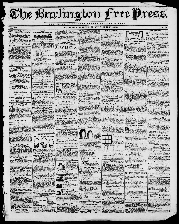 Newspaper of Burlington Free Press dated November 18, 1842 Page 1