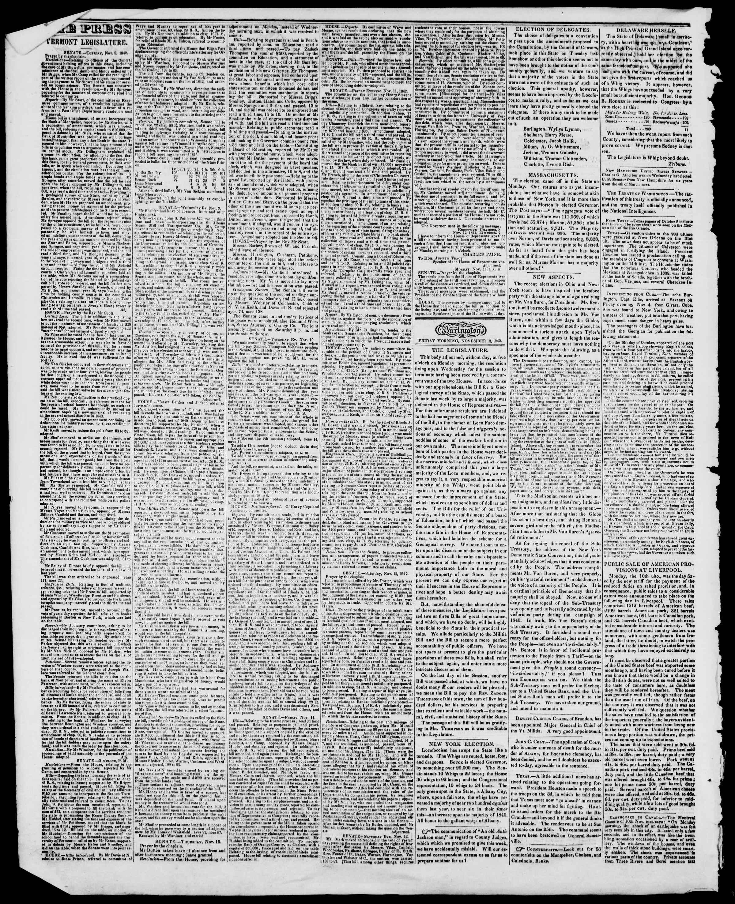 Newspaper of Burlington Free Press dated November 18, 1842 Page 2