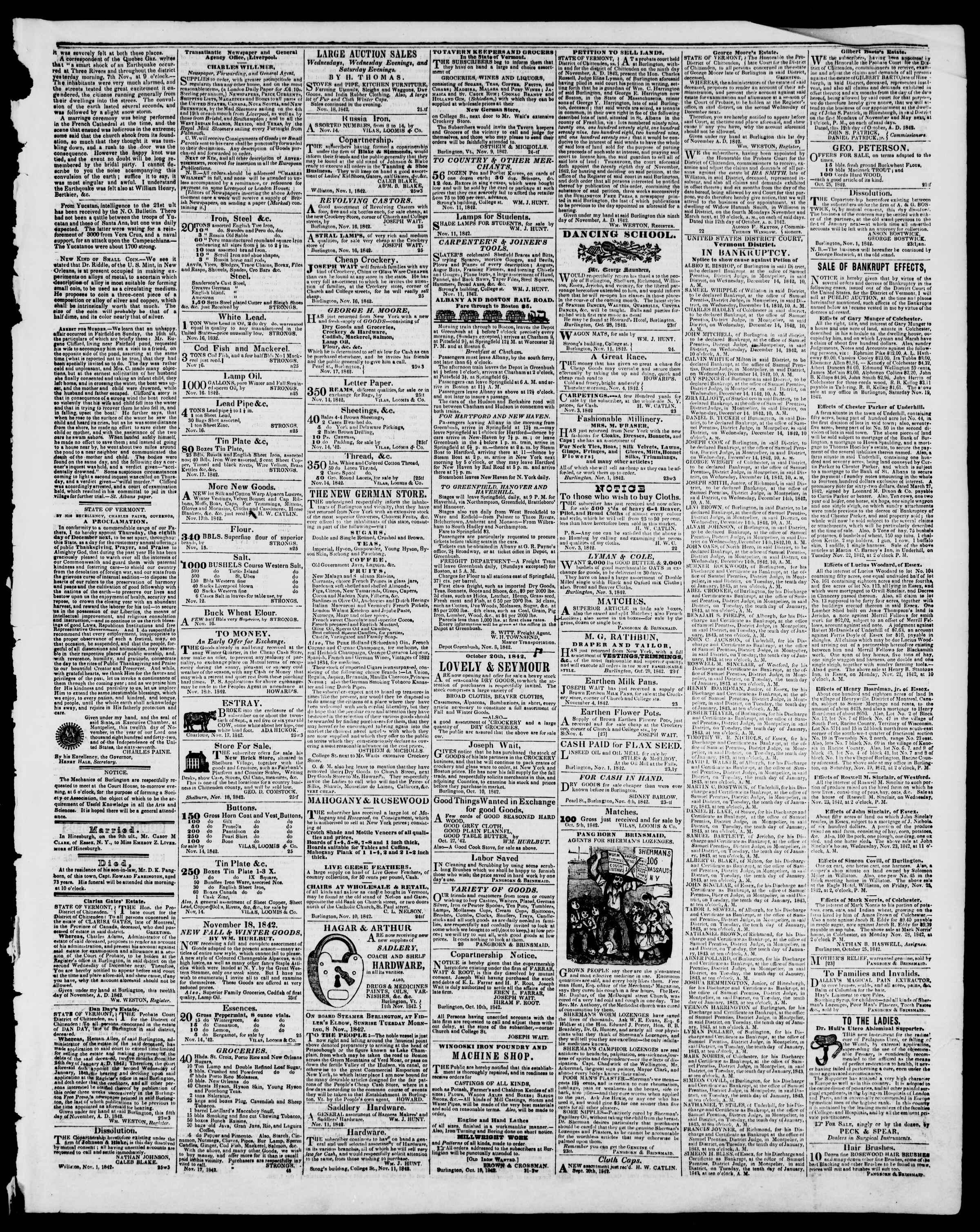 Newspaper of Burlington Free Press dated November 18, 1842 Page 3
