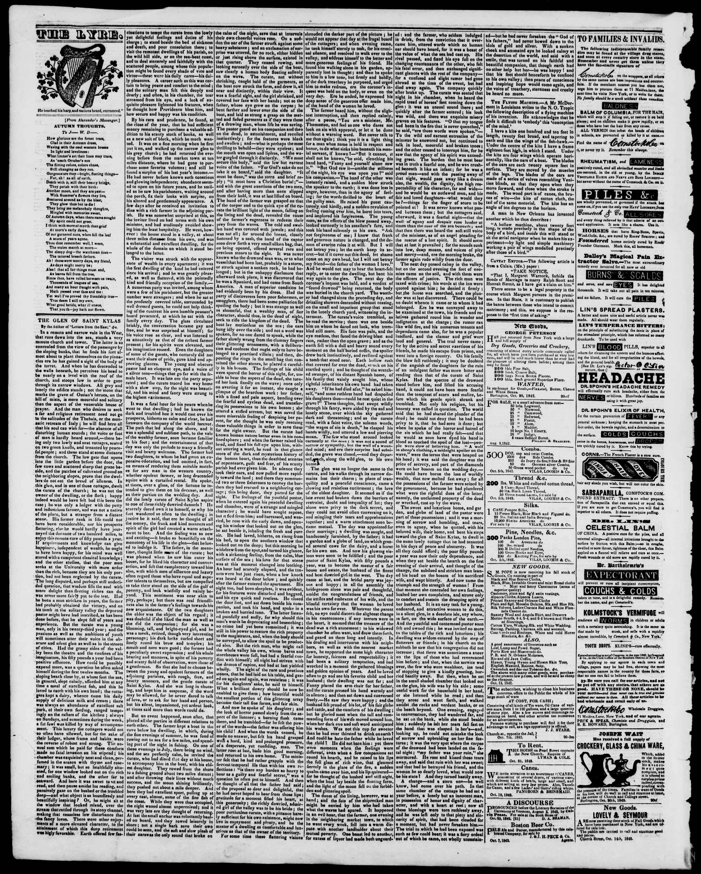 Newspaper of Burlington Free Press dated November 18, 1842 Page 4