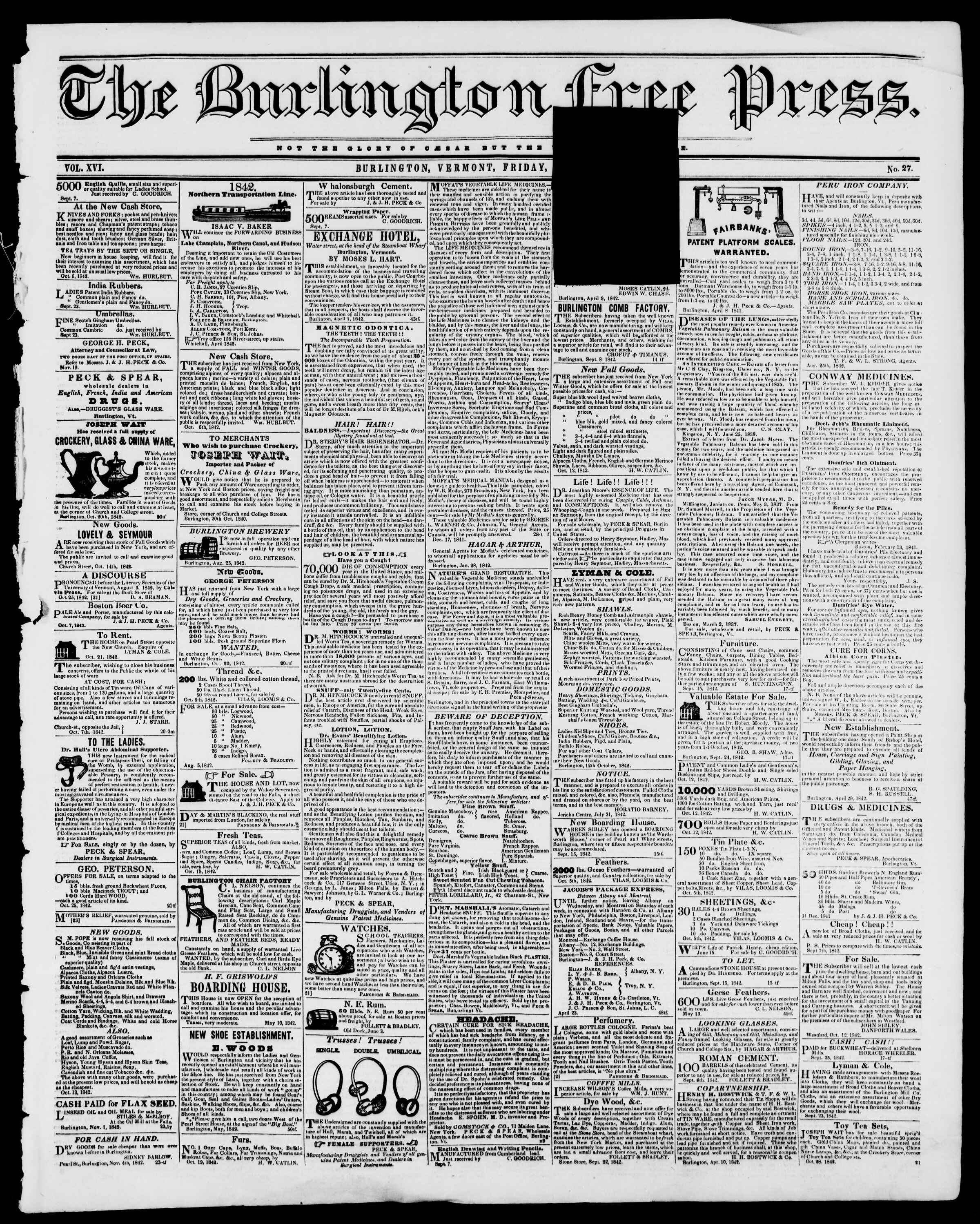 Newspaper of Burlington Free Press dated December 2, 1842 Page 1