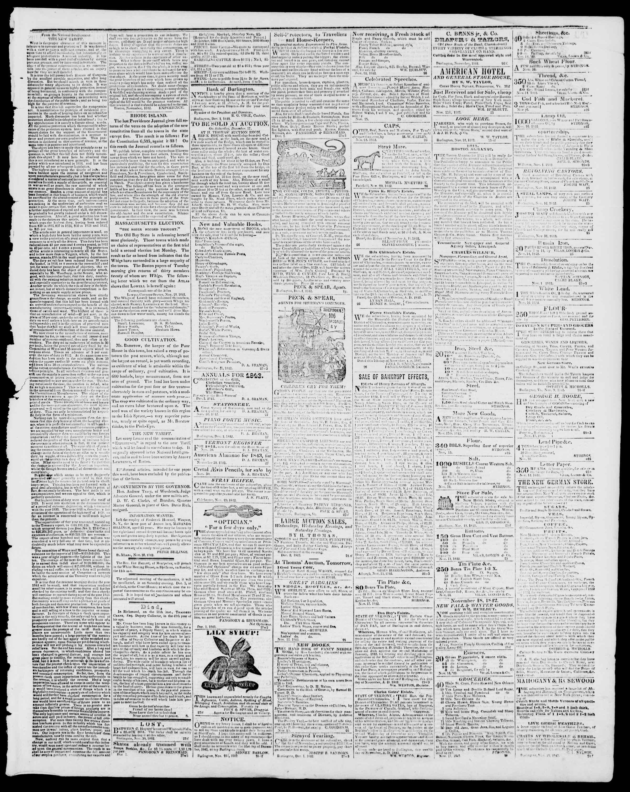 Newspaper of Burlington Free Press dated December 2, 1842 Page 3