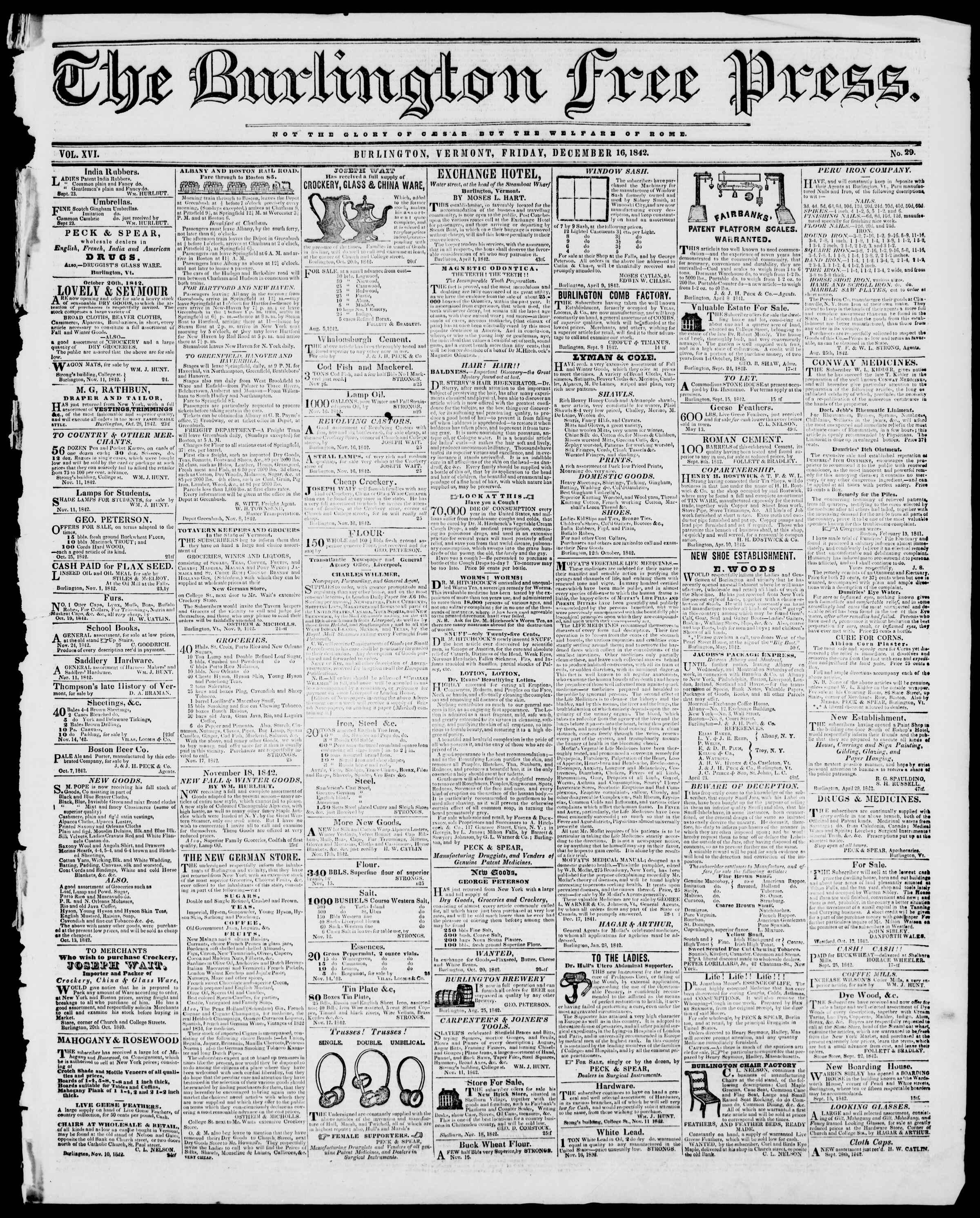 Newspaper of Burlington Free Press dated December 16, 1842 Page 1