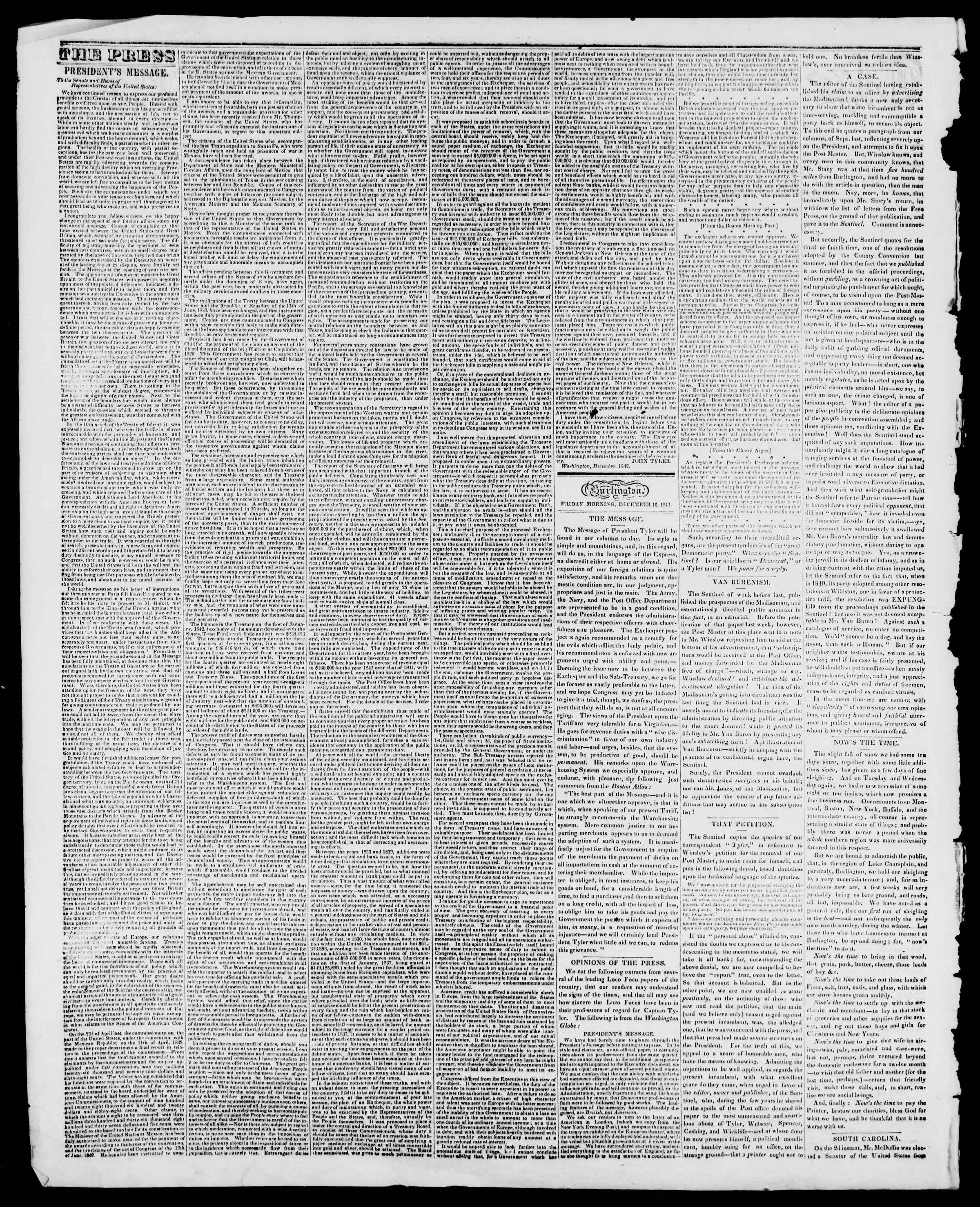 Newspaper of Burlington Free Press dated December 16, 1842 Page 2