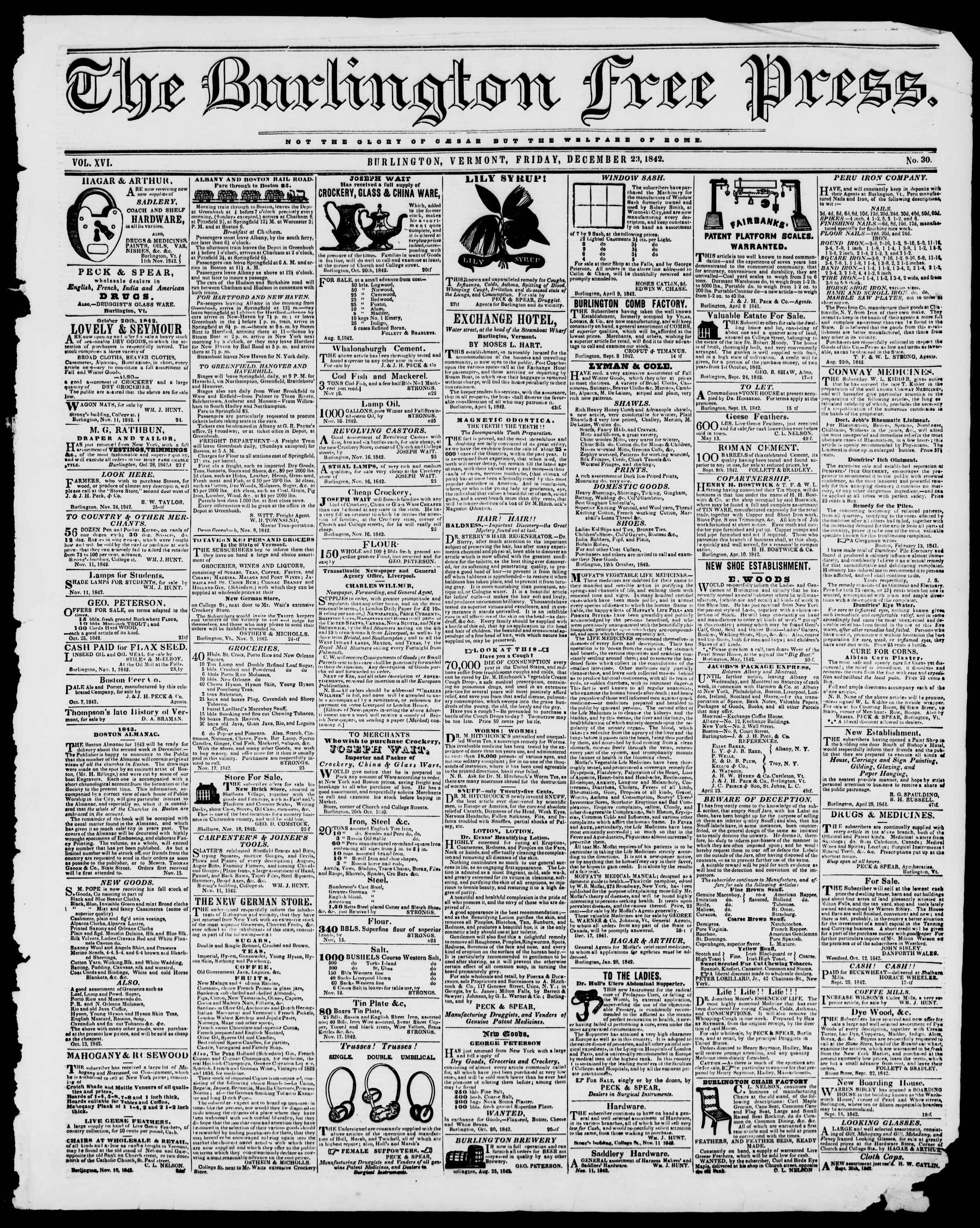 Newspaper of Burlington Free Press dated December 23, 1842 Page 1