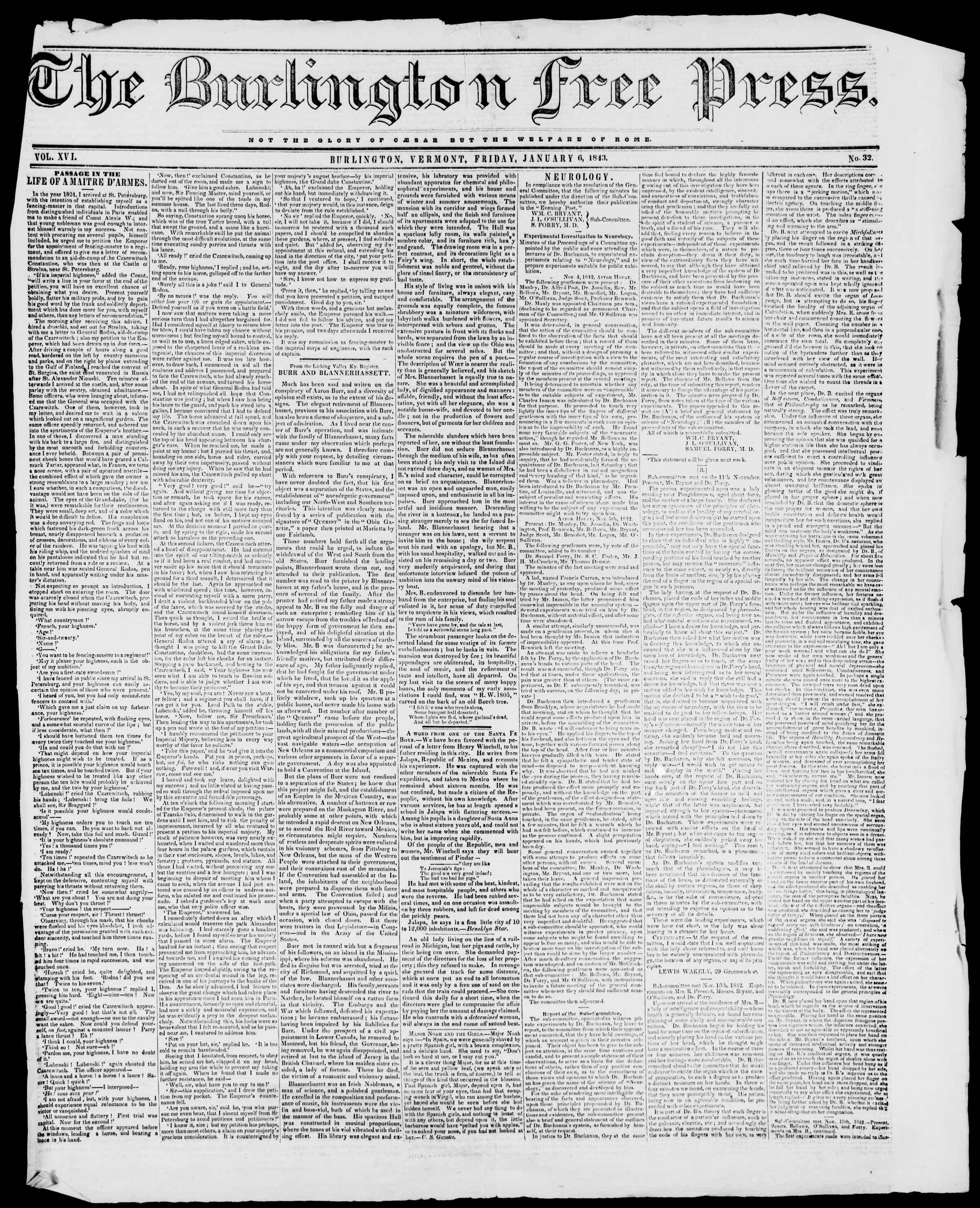 Newspaper of Burlington Free Press dated January 6, 1843 Page 1