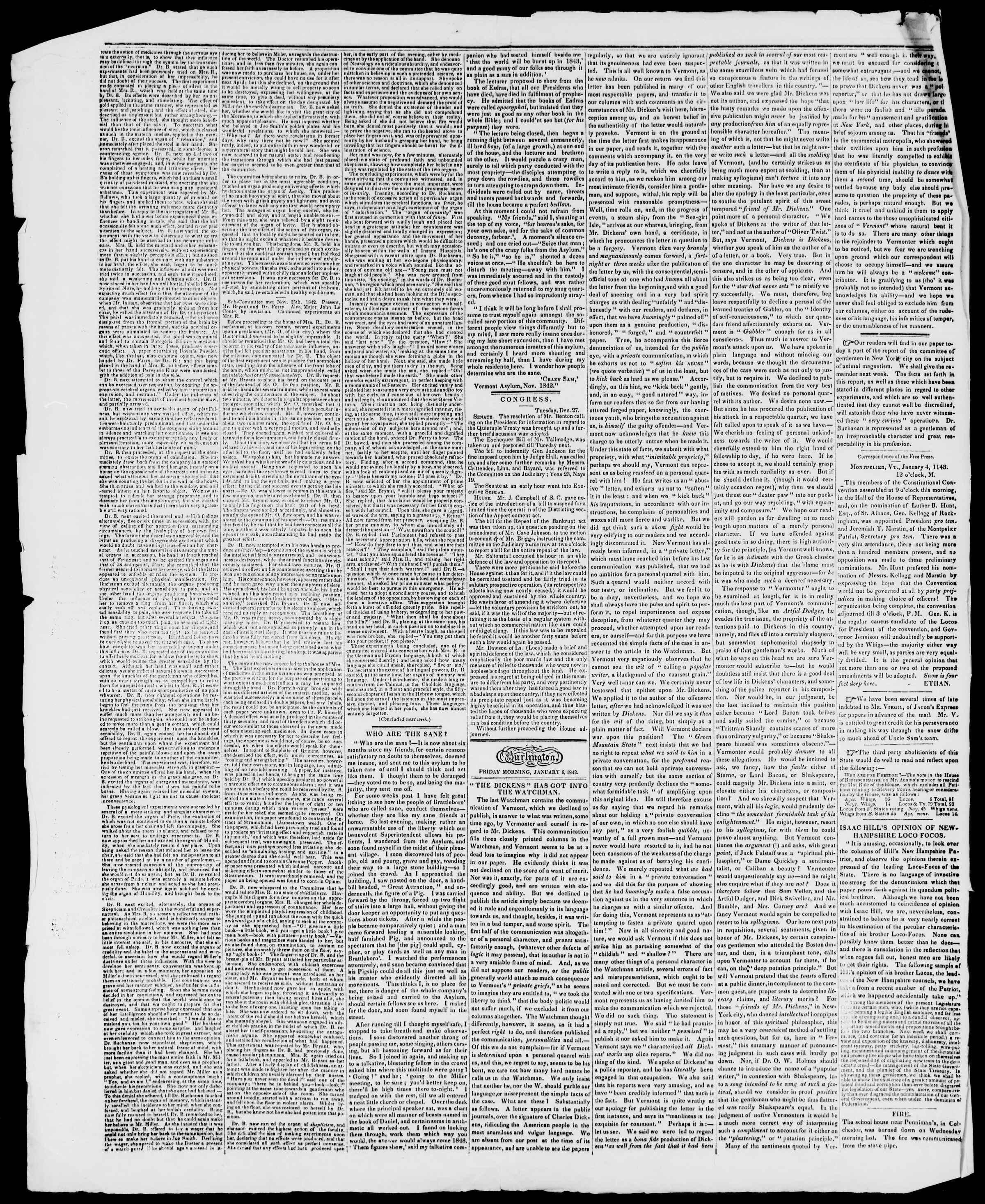 Newspaper of Burlington Free Press dated January 6, 1843 Page 2