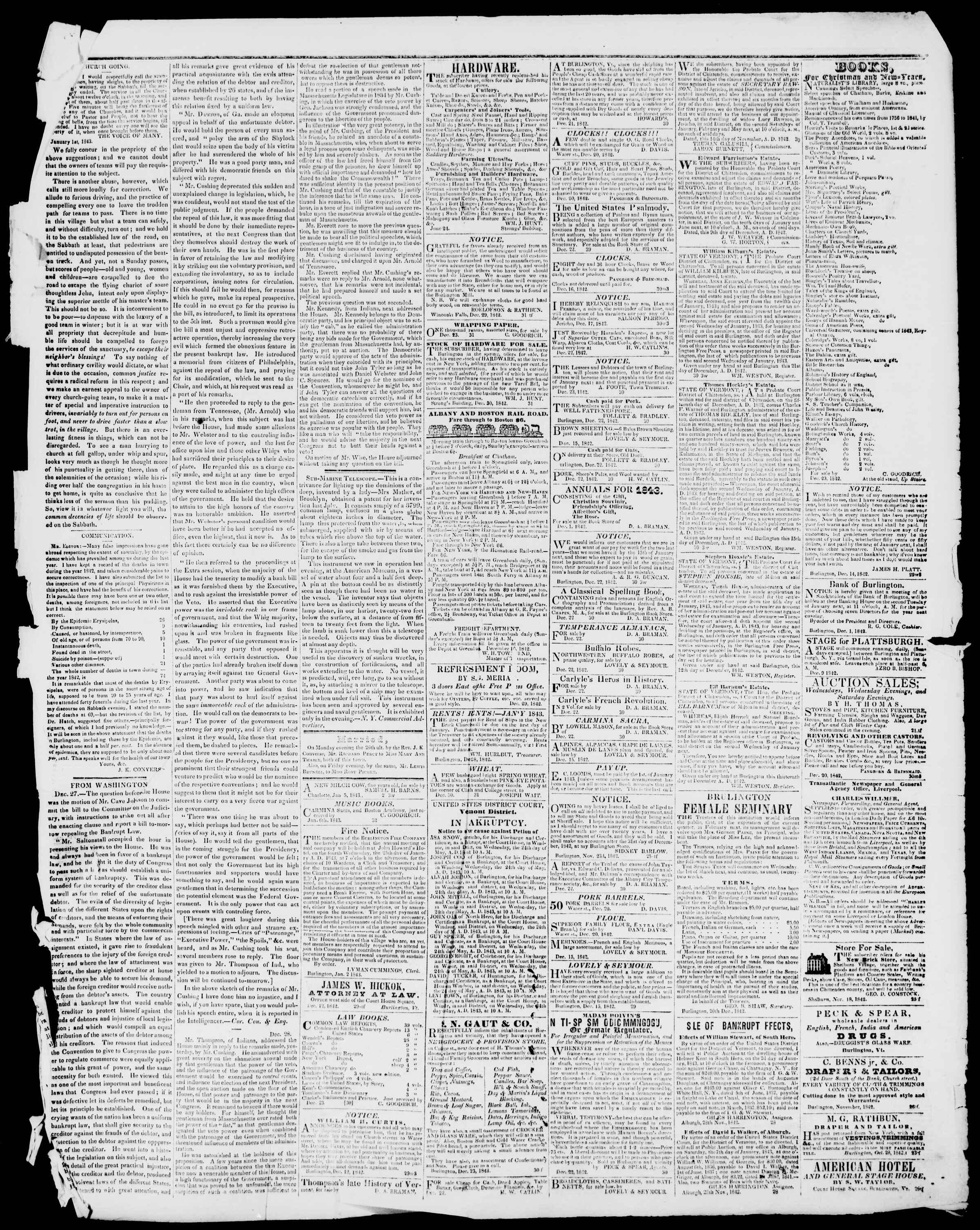 Newspaper of Burlington Free Press dated January 6, 1843 Page 3