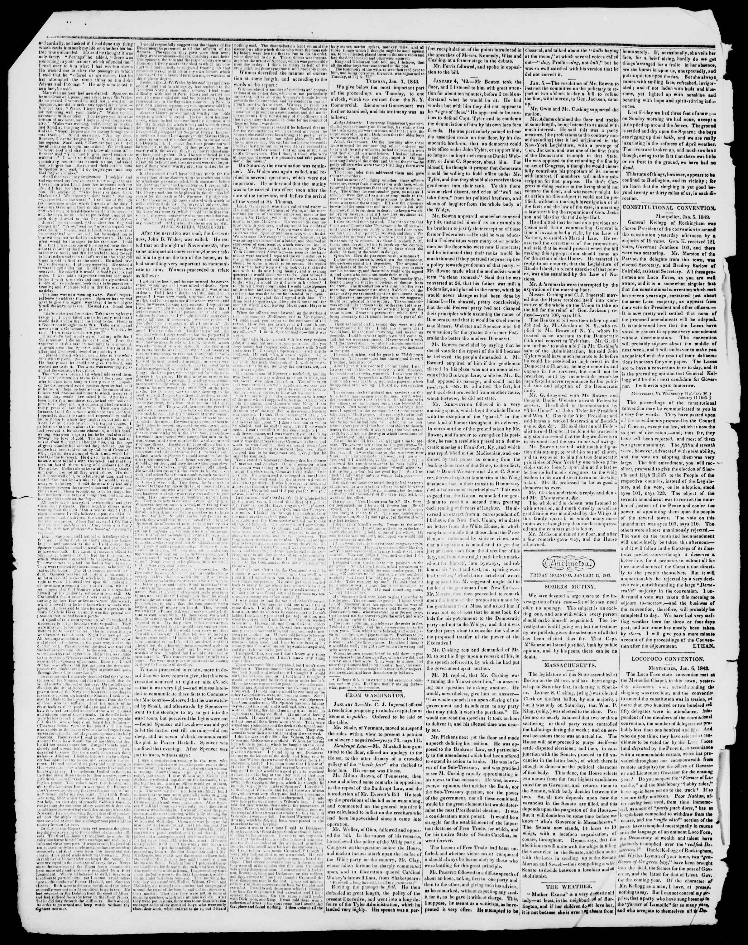 Newspaper of Burlington Free Press dated January 13, 1843 Page 2
